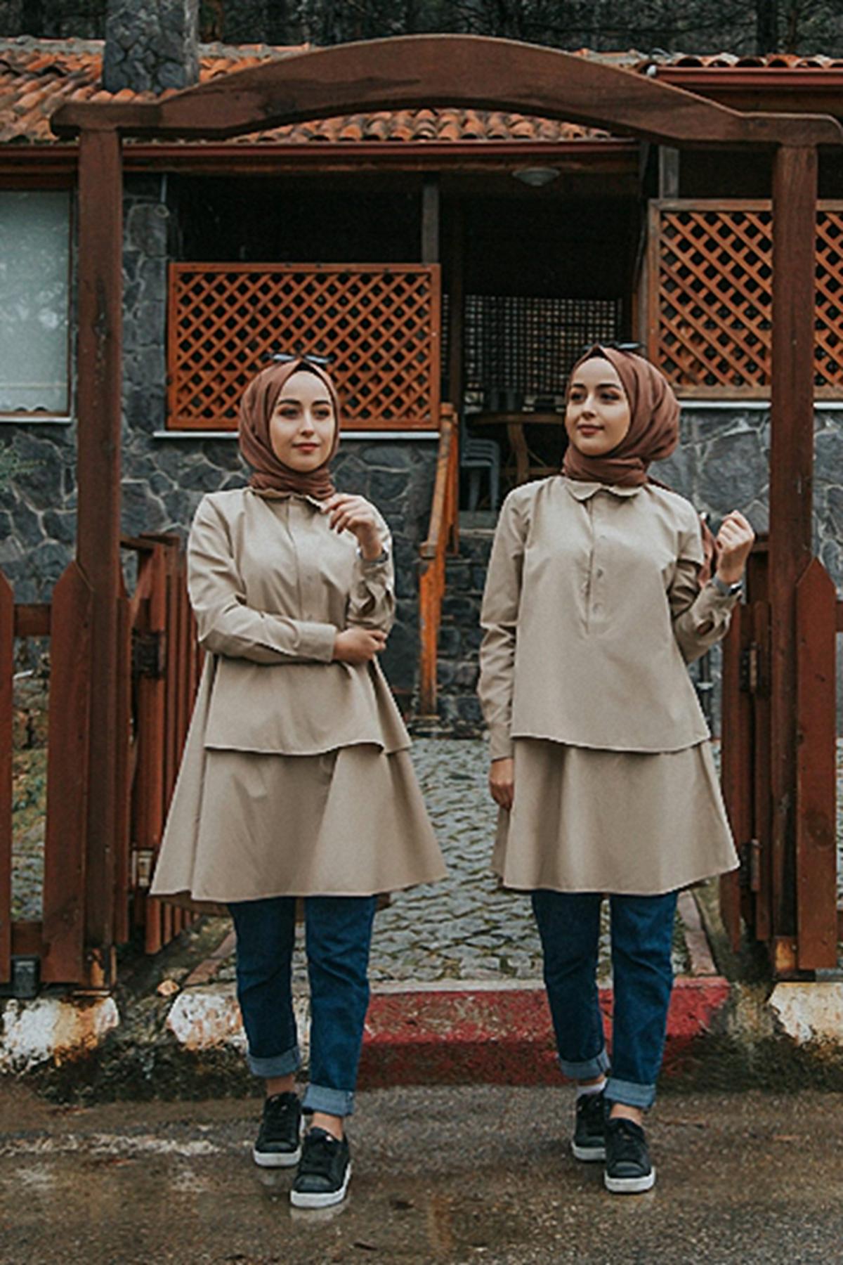 Çift Katlı Tesettür Mevlana Gömlek  - Bej