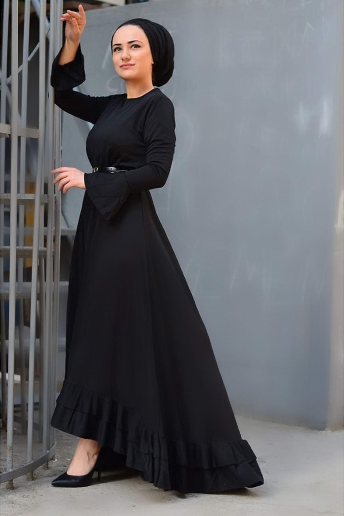 Fırfır Kuyruklu Tesettür  Elbise -  SİYAH