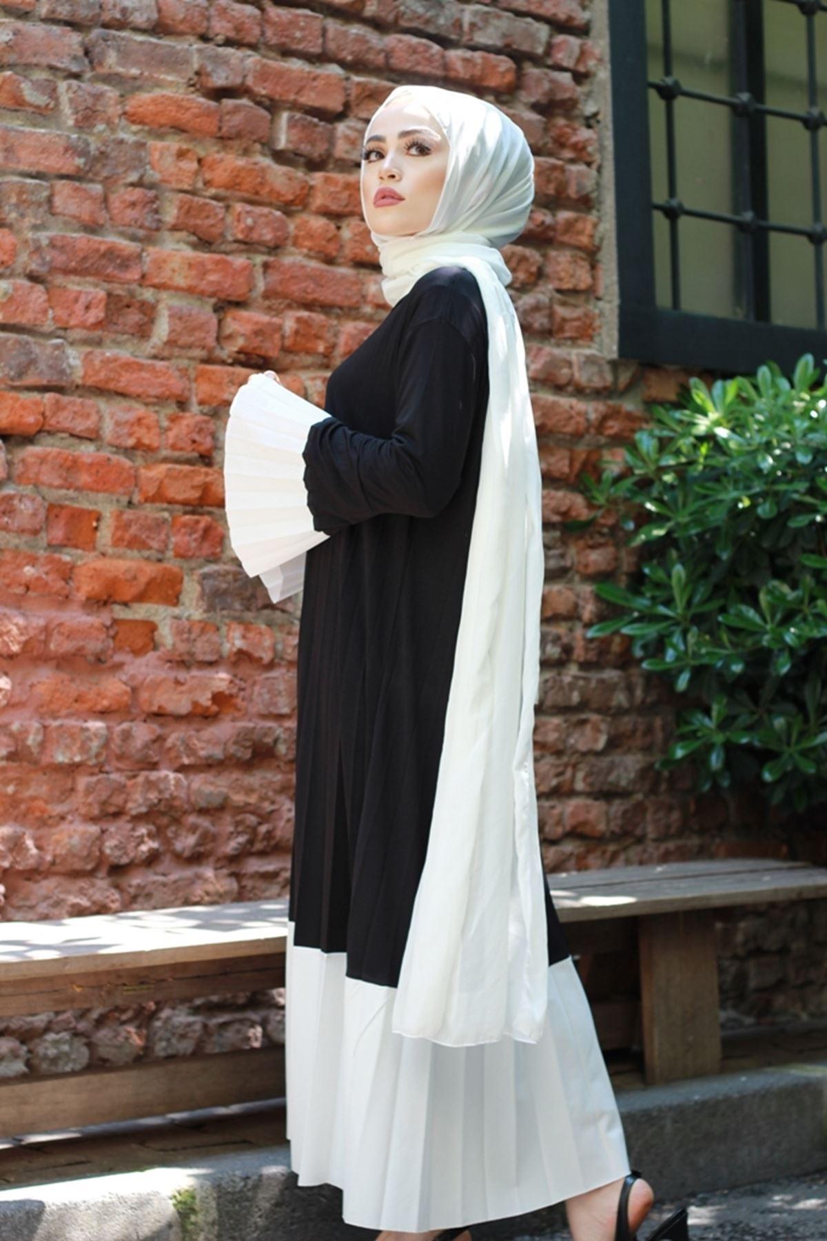 Sandy Soleli Tesettür Elbise -  SİYAH