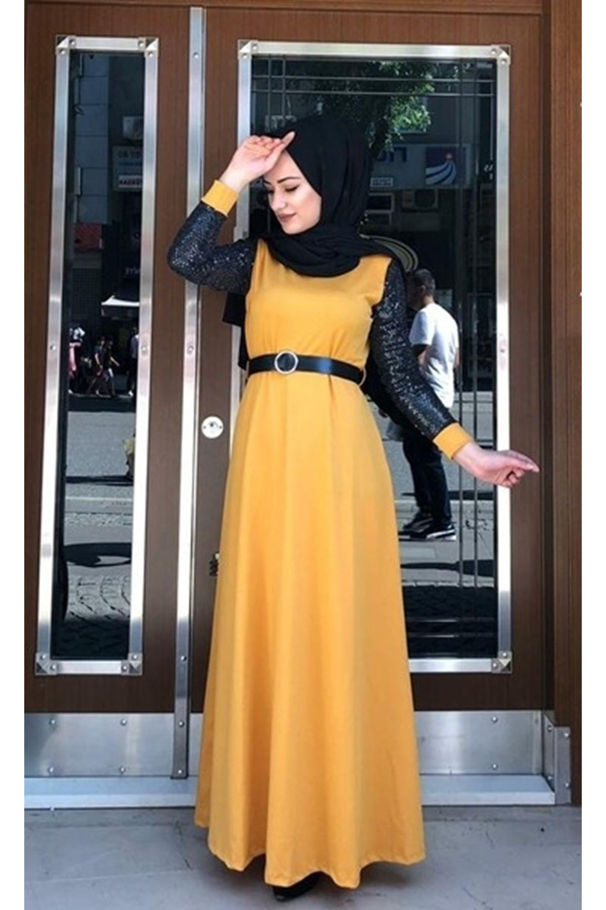 Pırıltı Tesettür Elbise - HARDAL