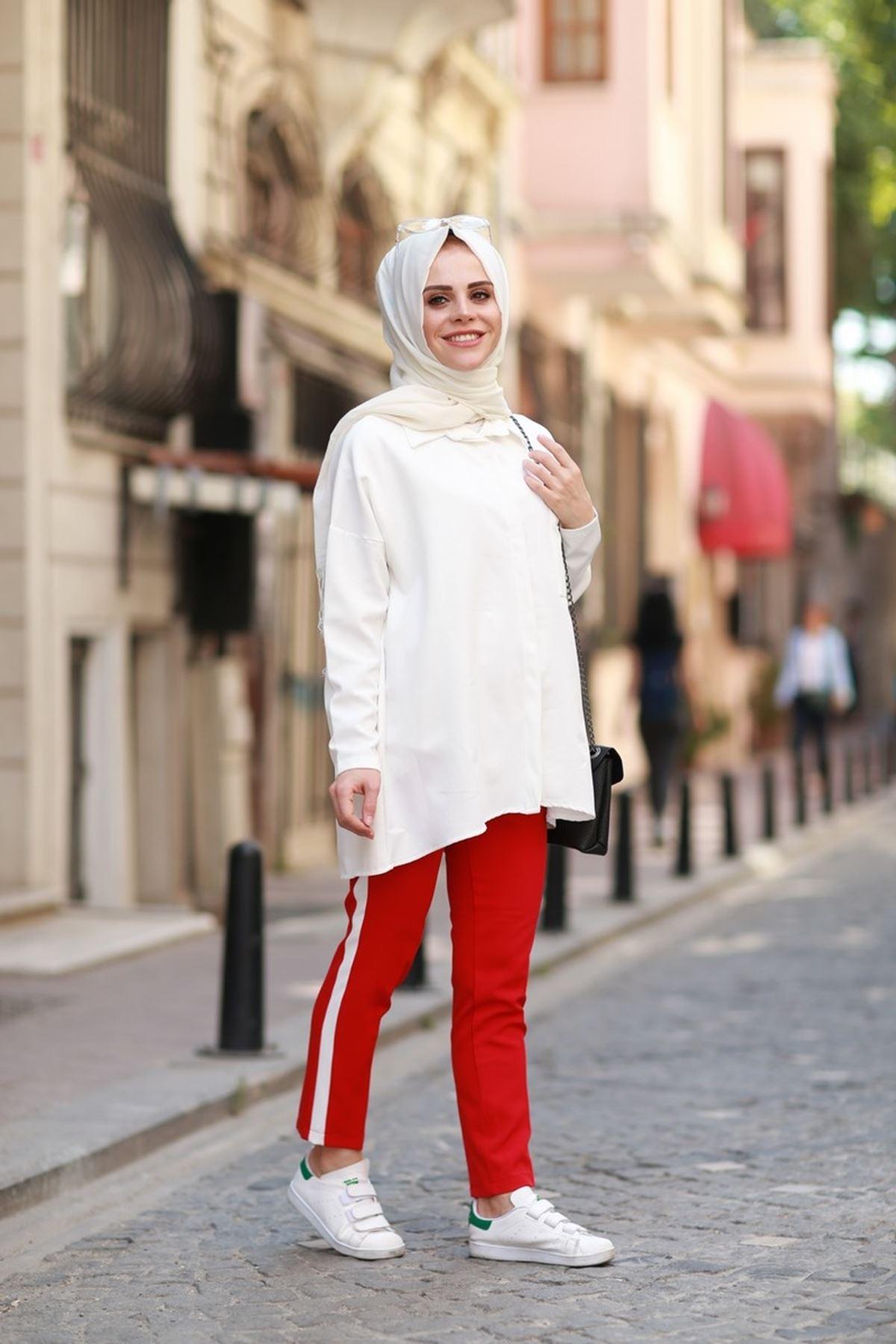 Yandan Şeritli Pantolon - Kırmızı