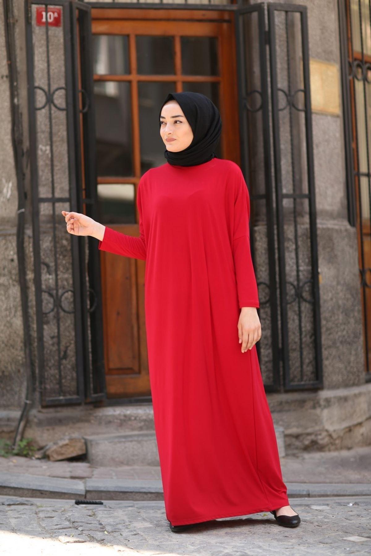 Yarasa Kol Tesettür Ferace - Kırmızı