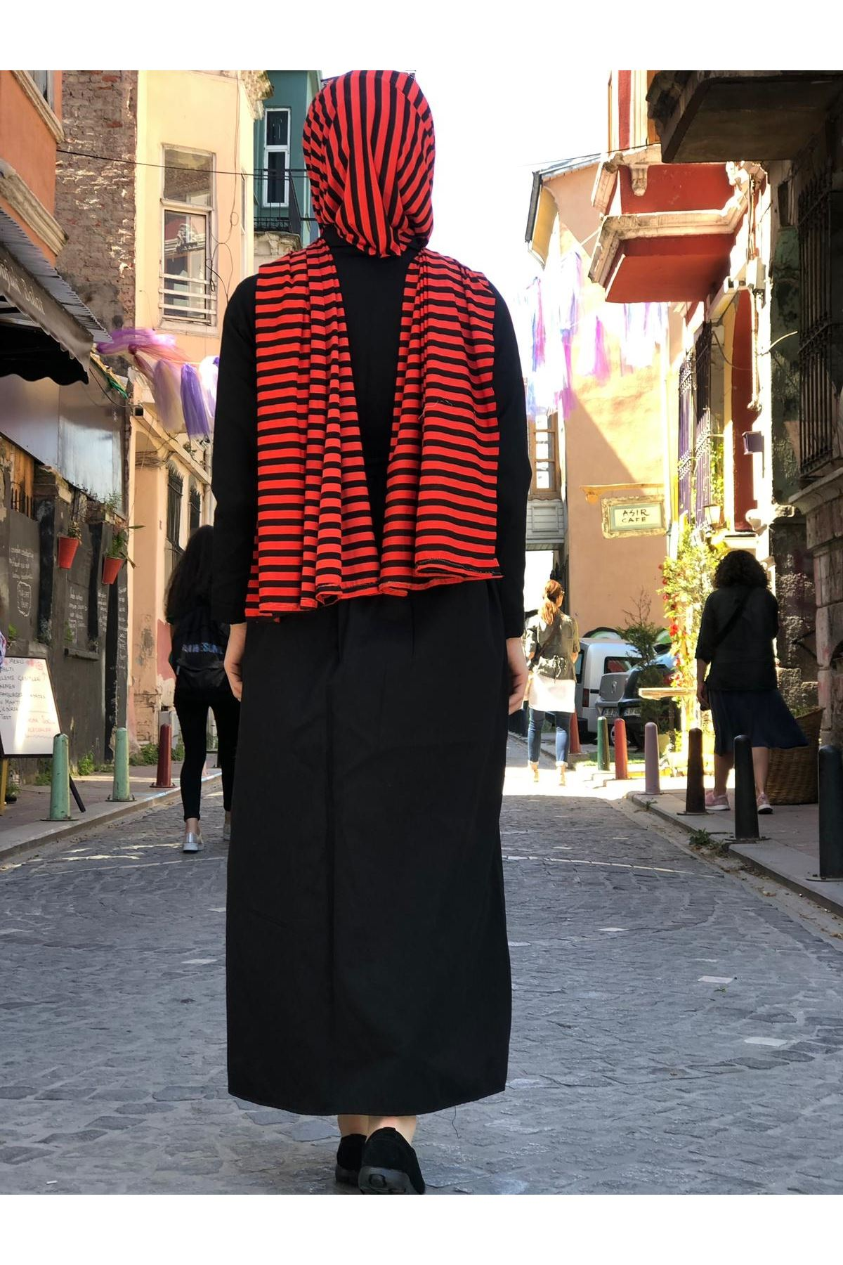 Yazlık Düğmeli Cep Detay Tesettür Elbise - Siyah
