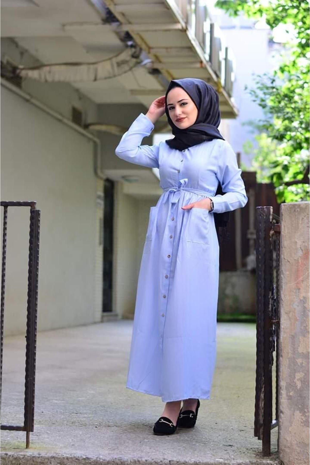 Yazlık Düğmeli Cep Detay Tesettür Elbise - Mavi