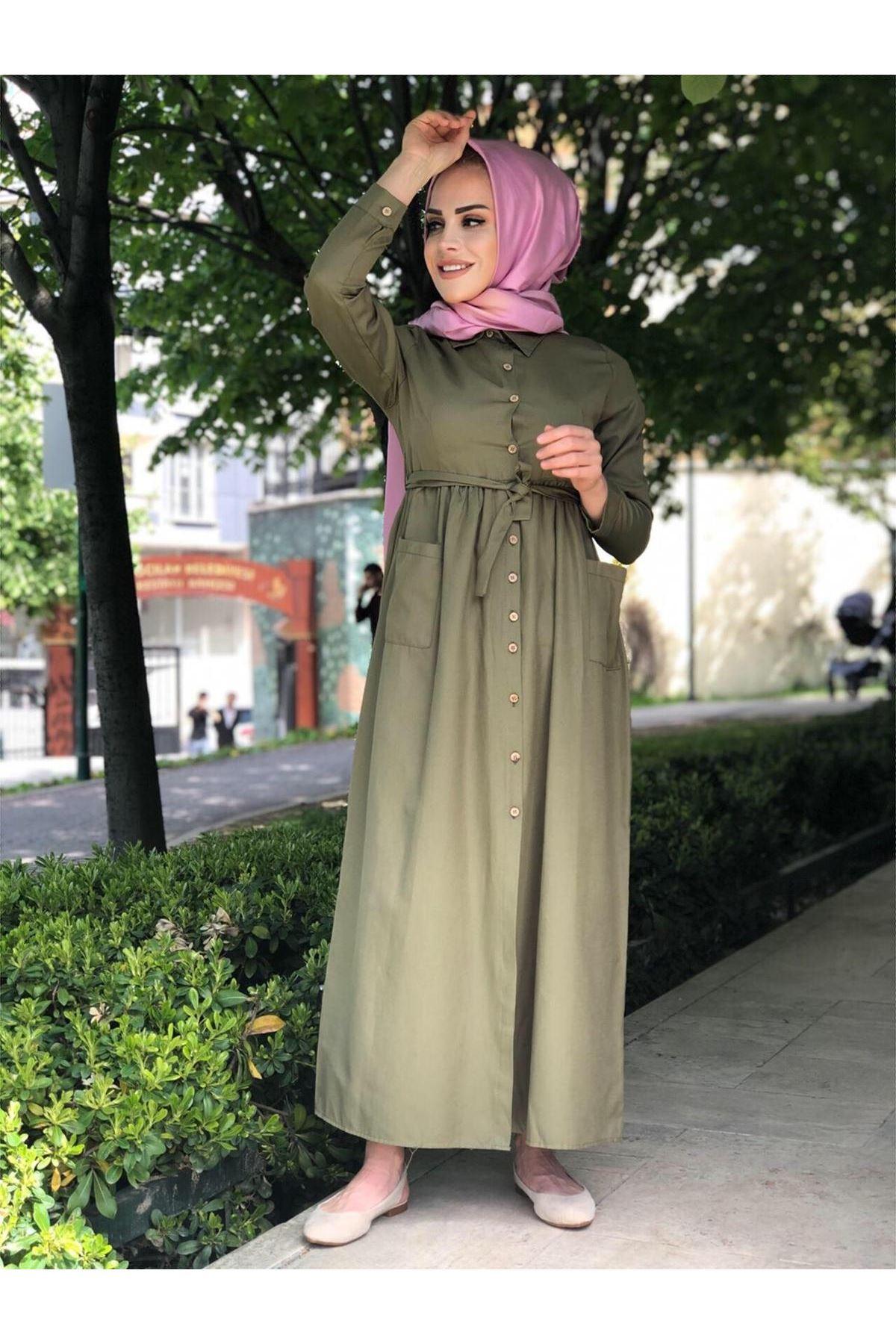 Yazlık Düğmeli Cep Detay Tesettür Elbise - Haki