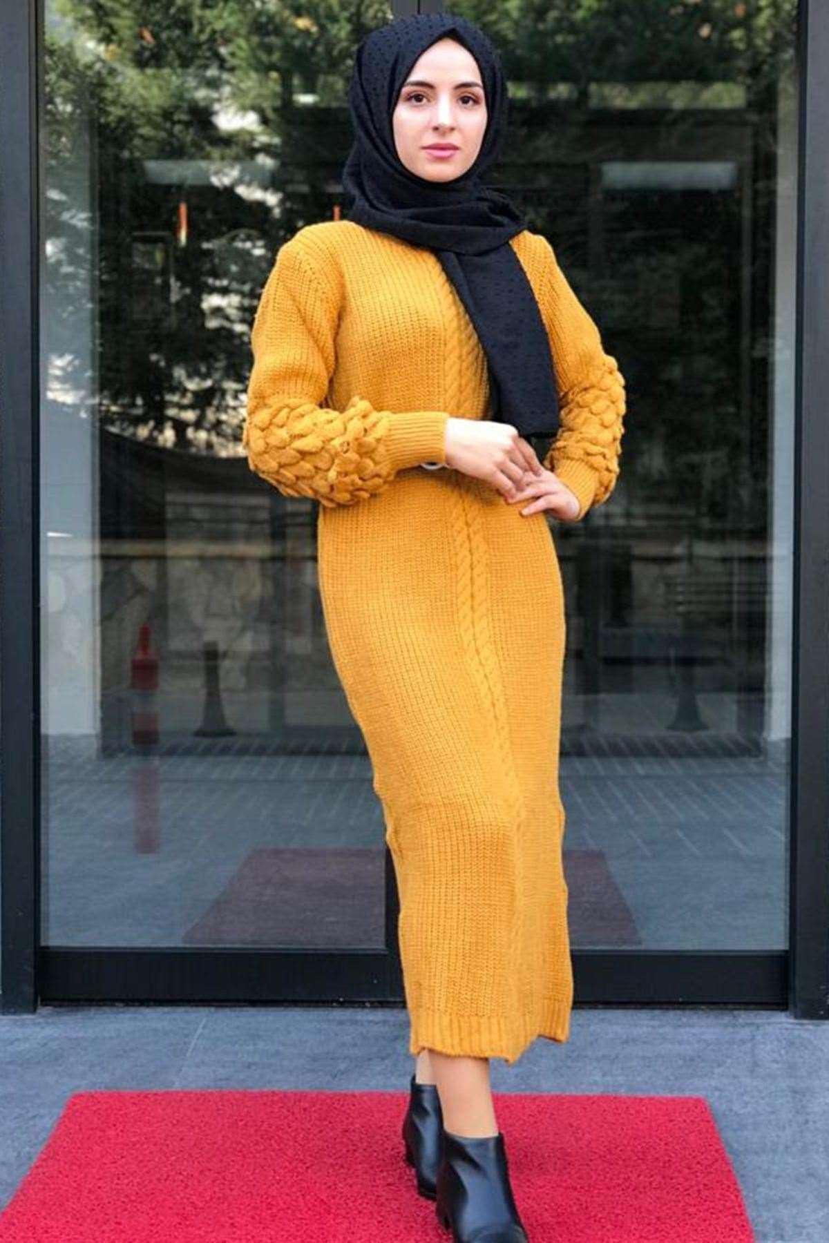 Üzüm Kol Tesettür Elbise - HARDAL