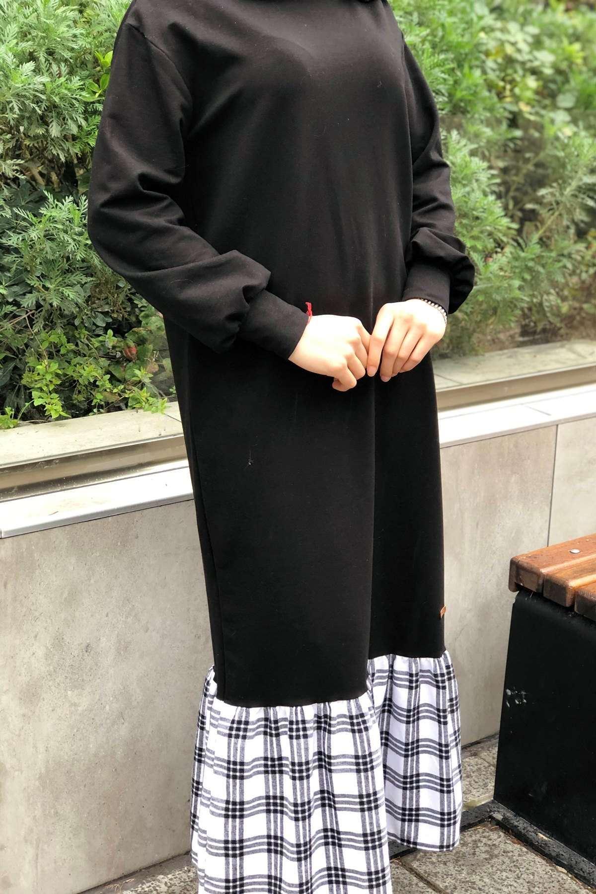 Etek Ucu Ekoseli Elbise - BEYAZ