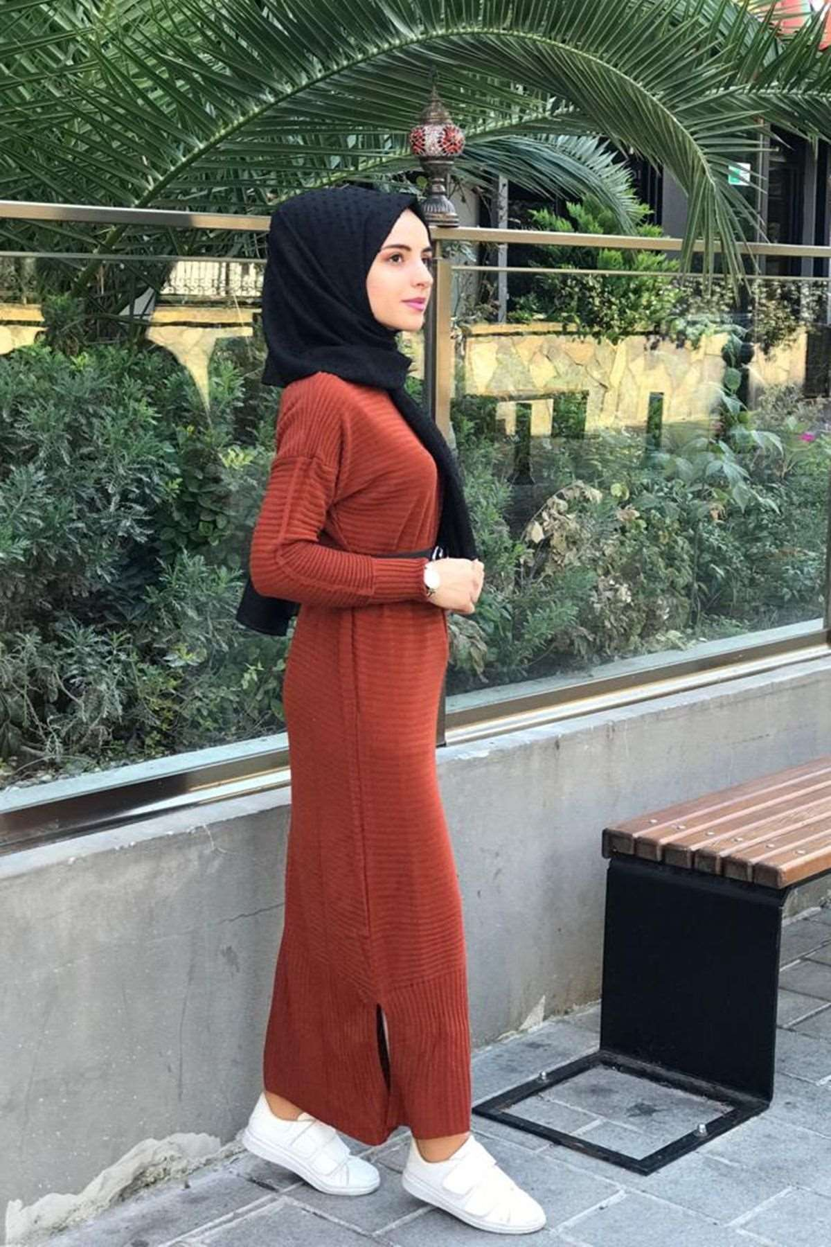 Ezhel Triko Tesettür Elbise - KİREMİT
