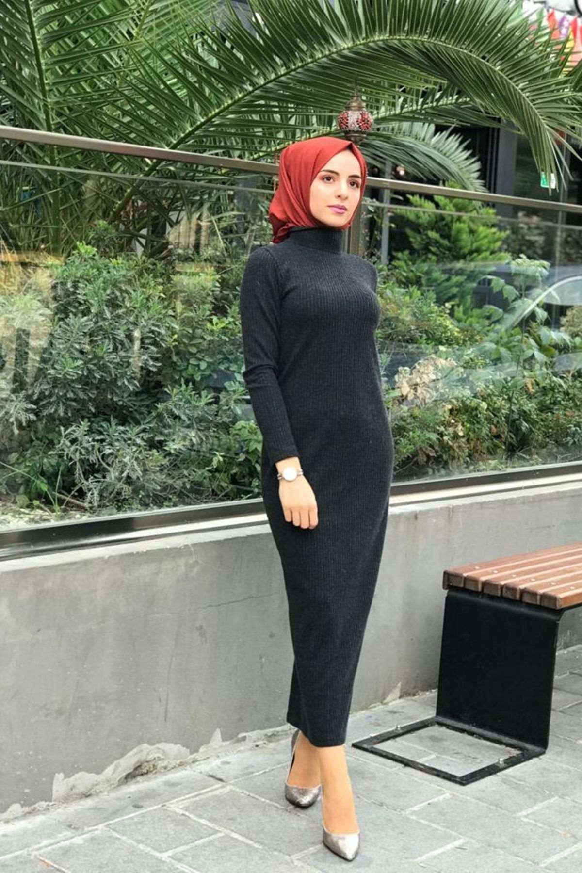 Fitilli Kalem Elbise - ANTRASİT