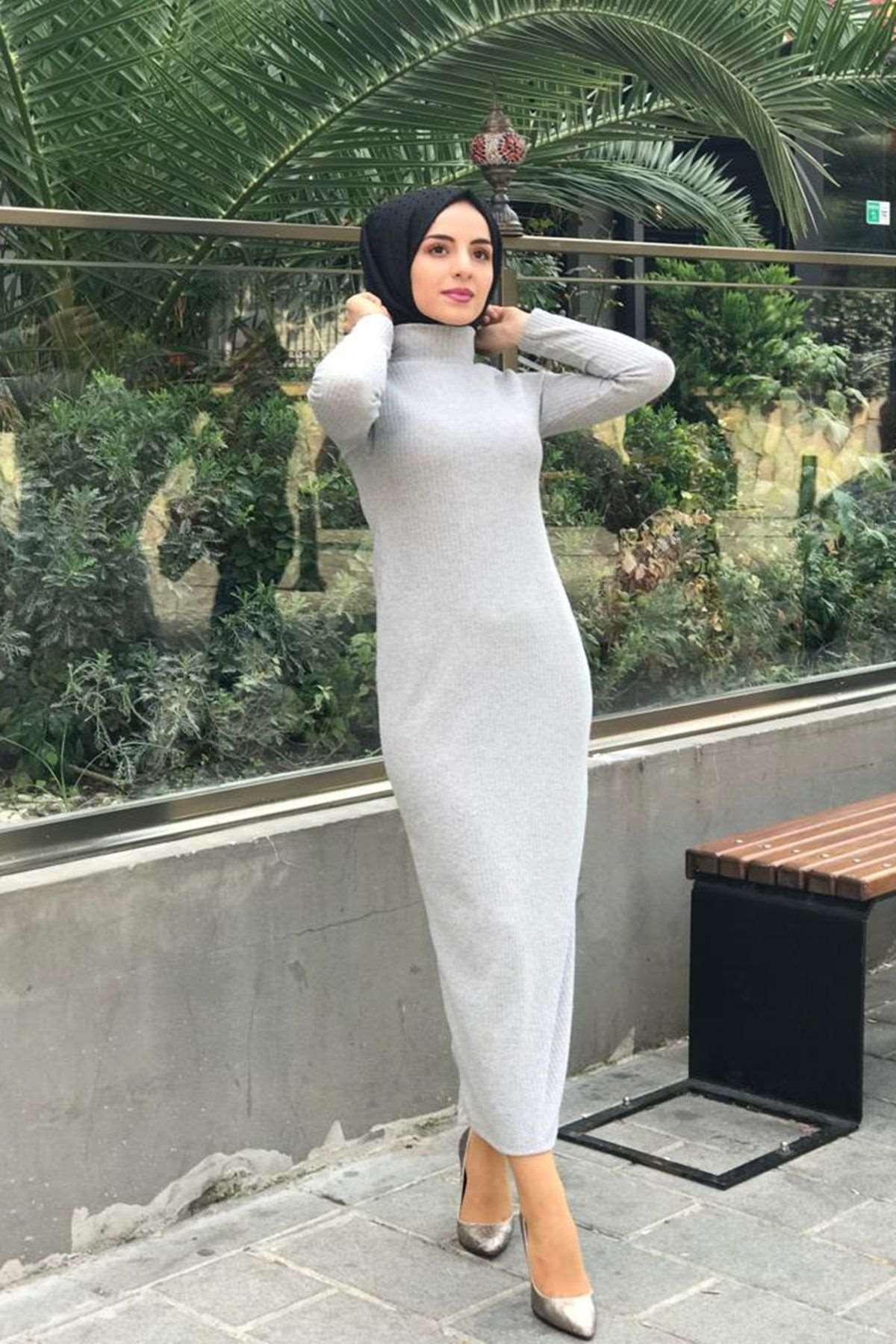 Fitilli Kalem Elbise - GRİ