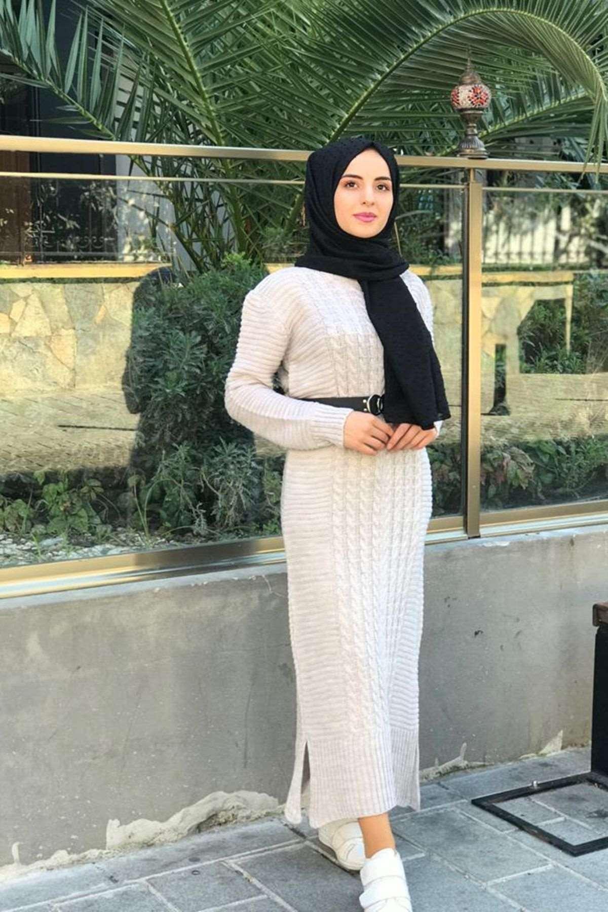 Kafes Örgülü Triko Elbise - TAŞ