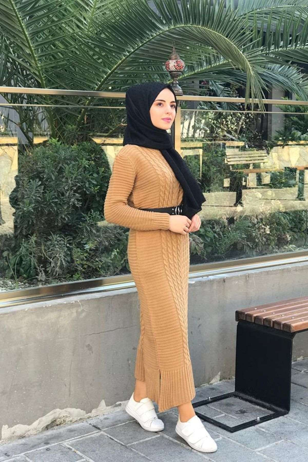 Kafes Örgülü Triko Elbise - CAMEL