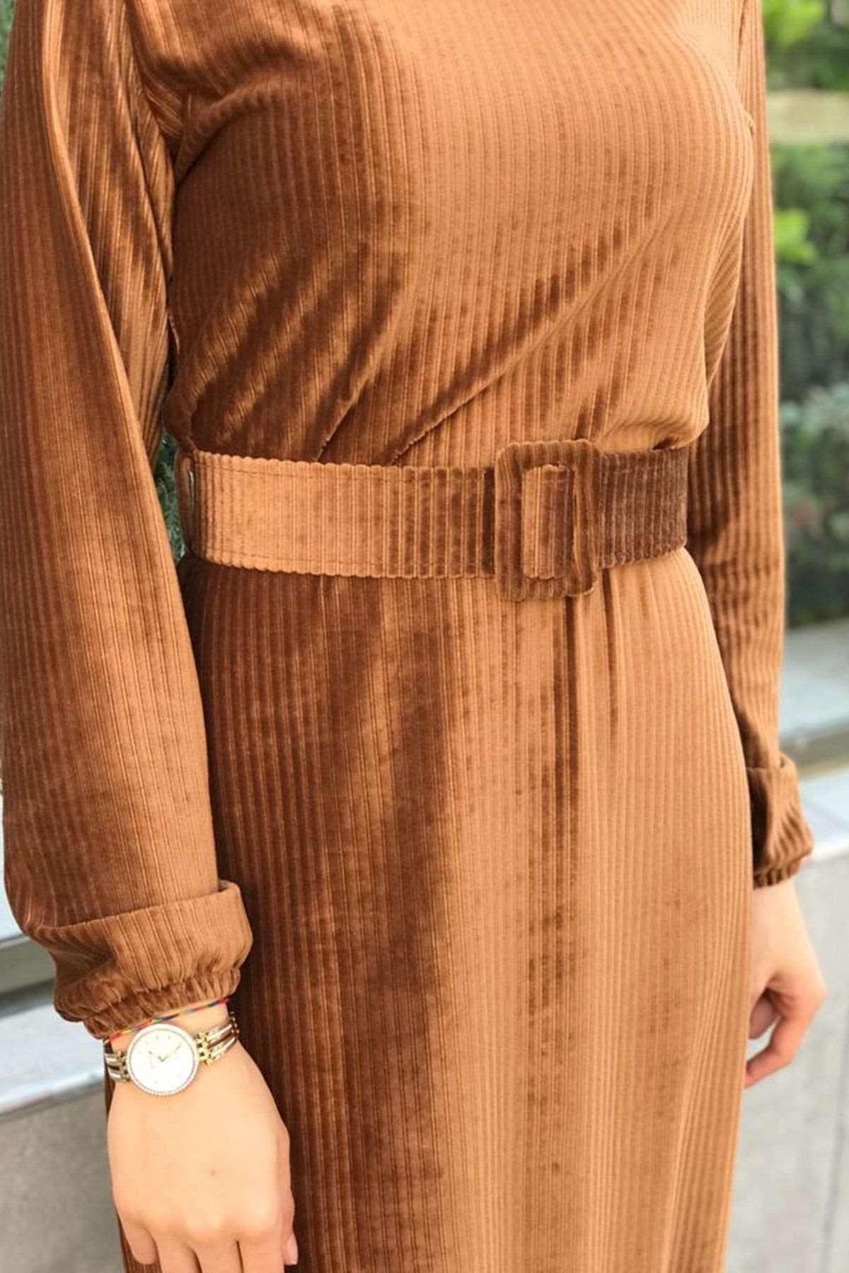 Merida Kemerli Kadife Elbise - TABA