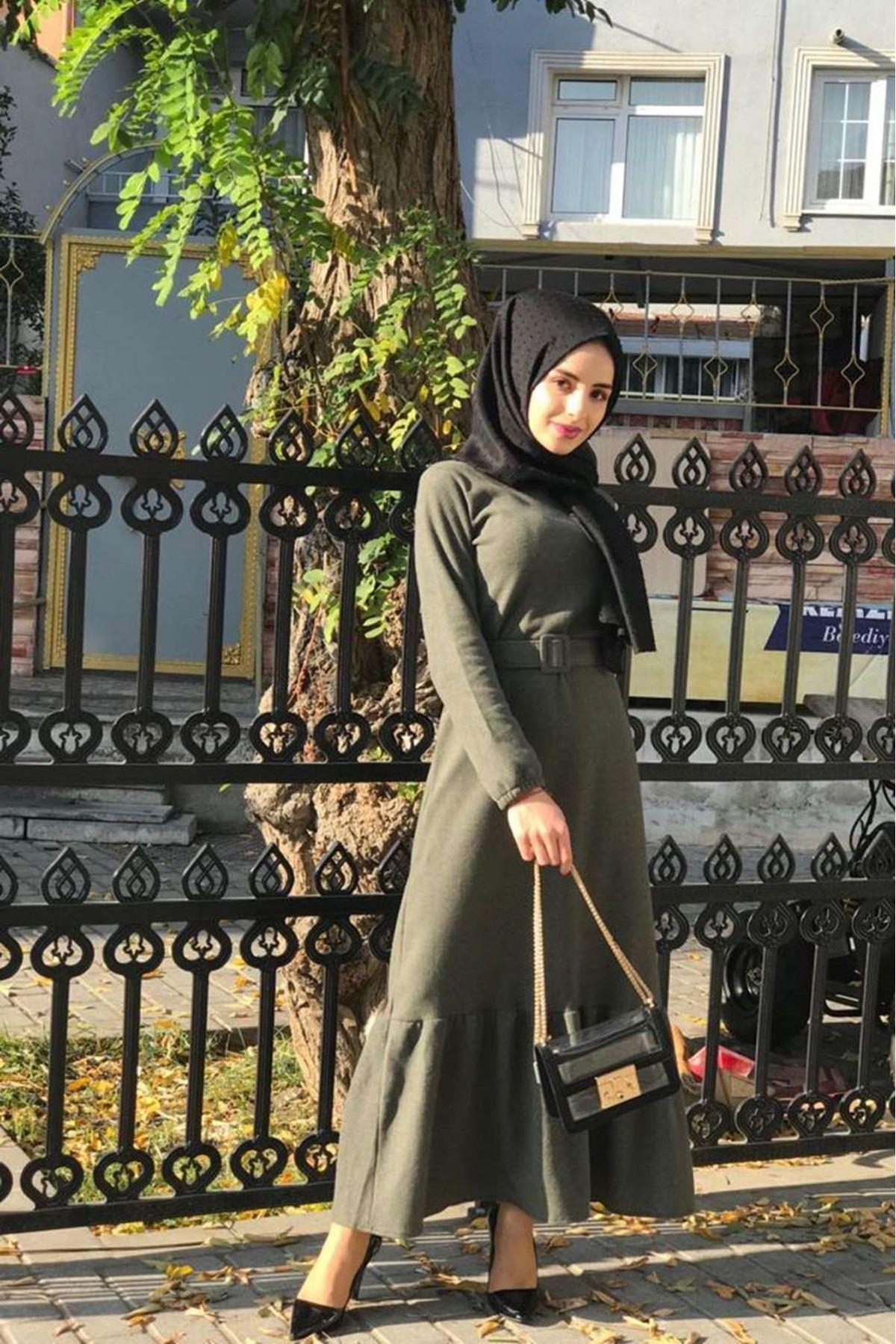 Selanik Kemerli Elbise - HAKİ