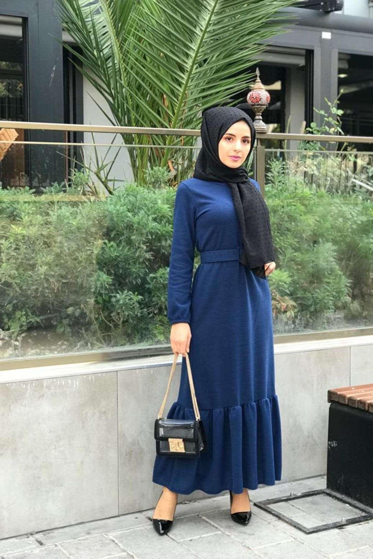 Selanik Kemerli Elbise - İNDİGO