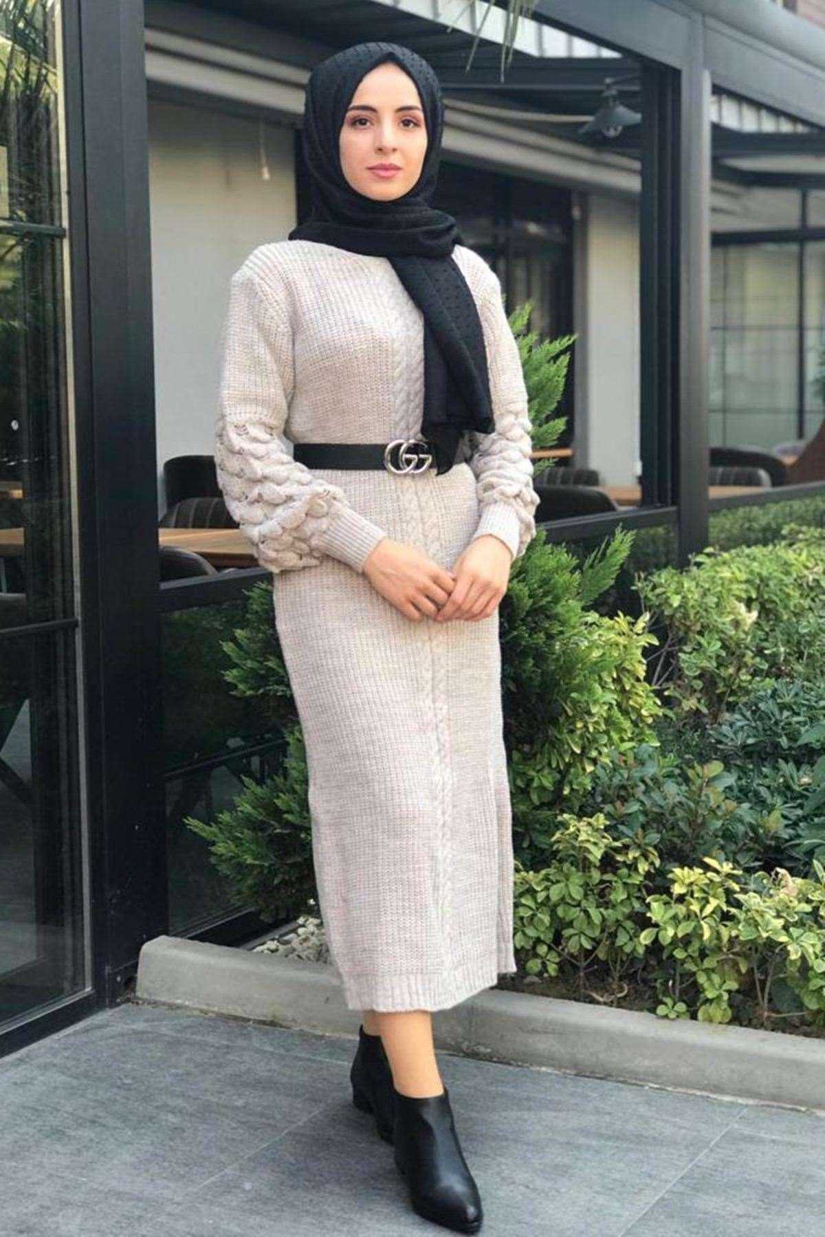 Üzüm Kol Tesettür Elbise - TAŞ