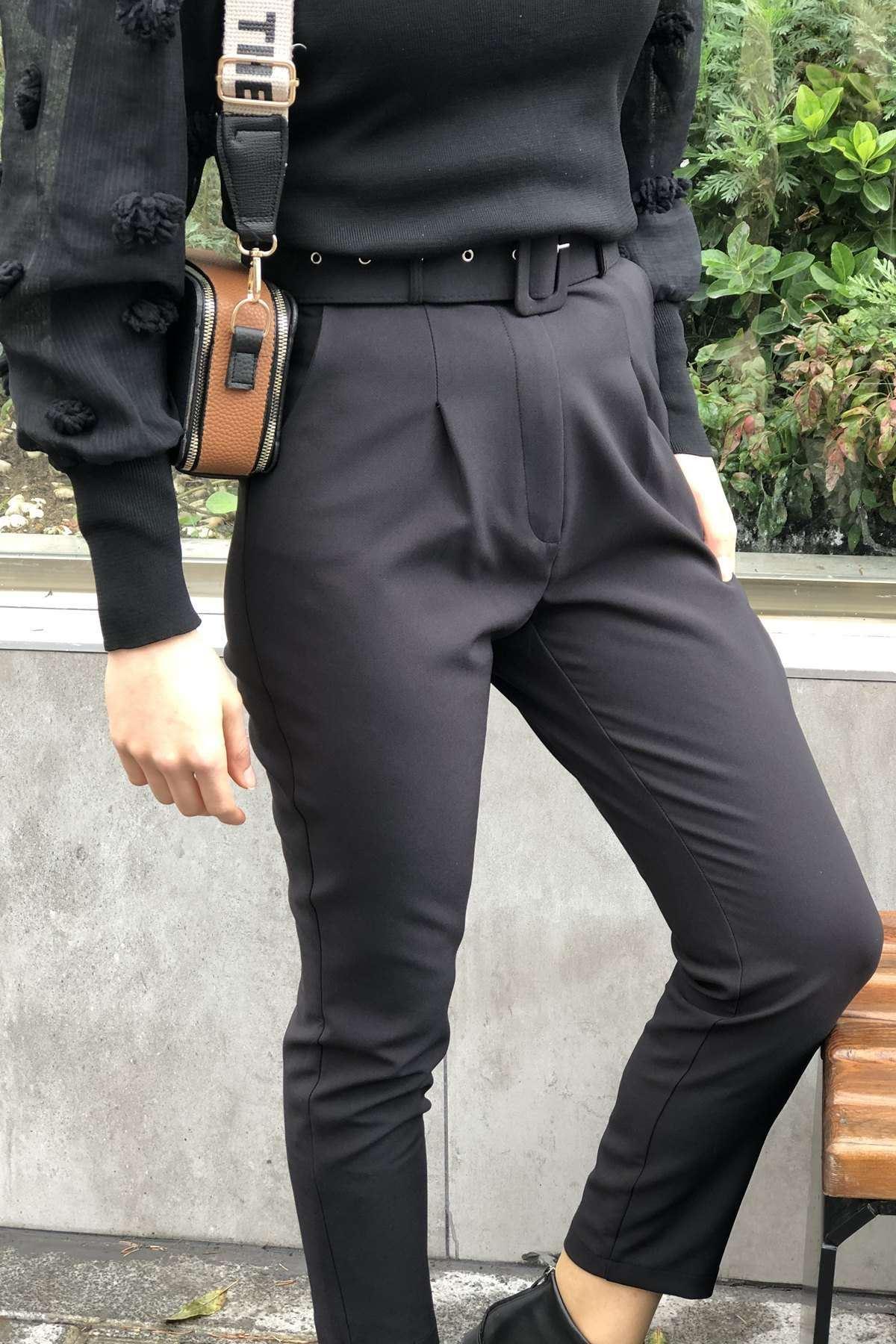Tena Yüksek Bel Kemerli Pantalon -  SİYAH