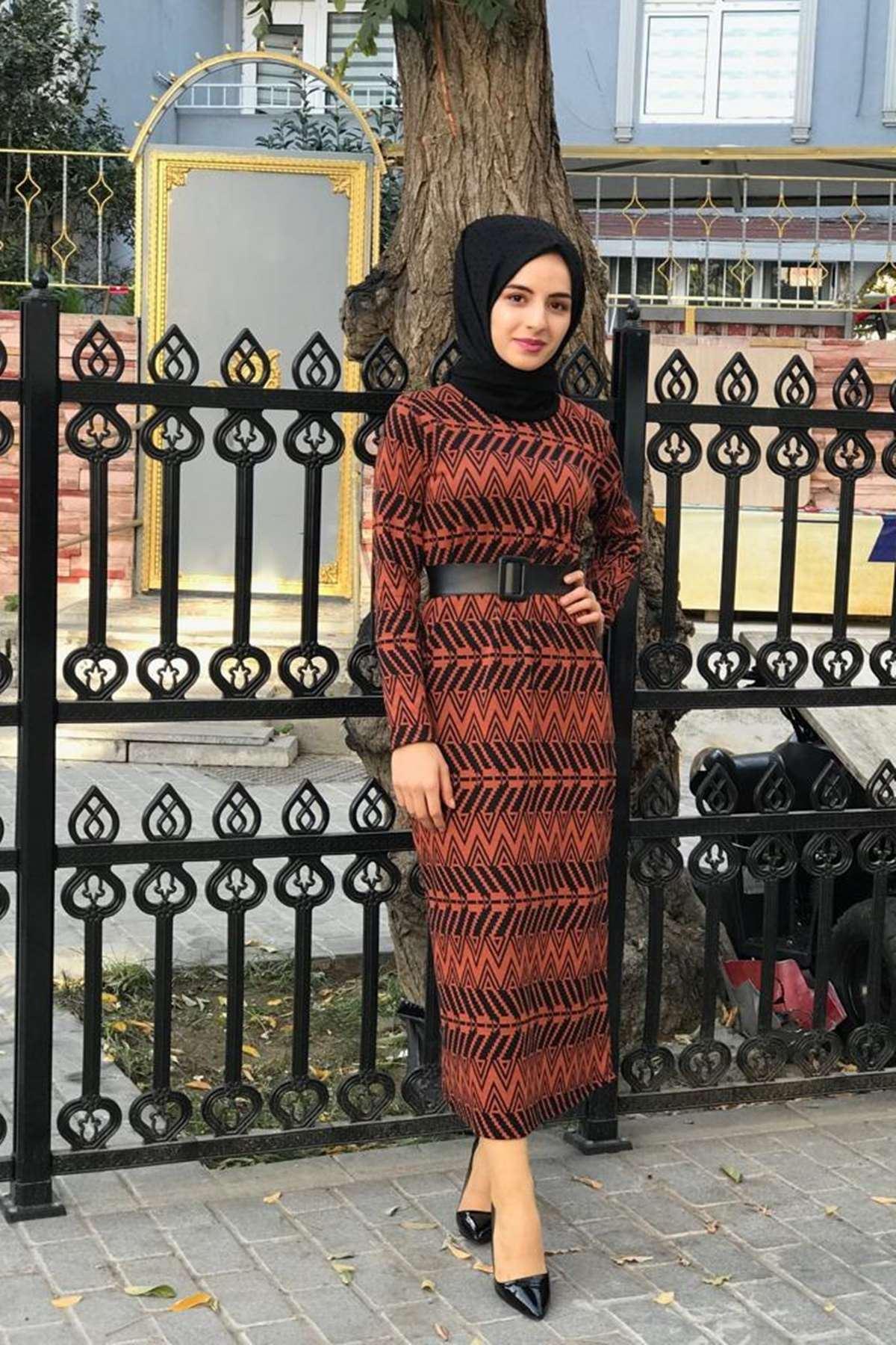 Ziga Desen Elbise - KİREMİT