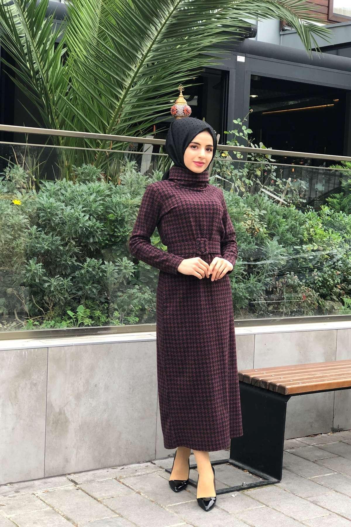 Kazayağı Desen Kemerli Elbise - BORDO