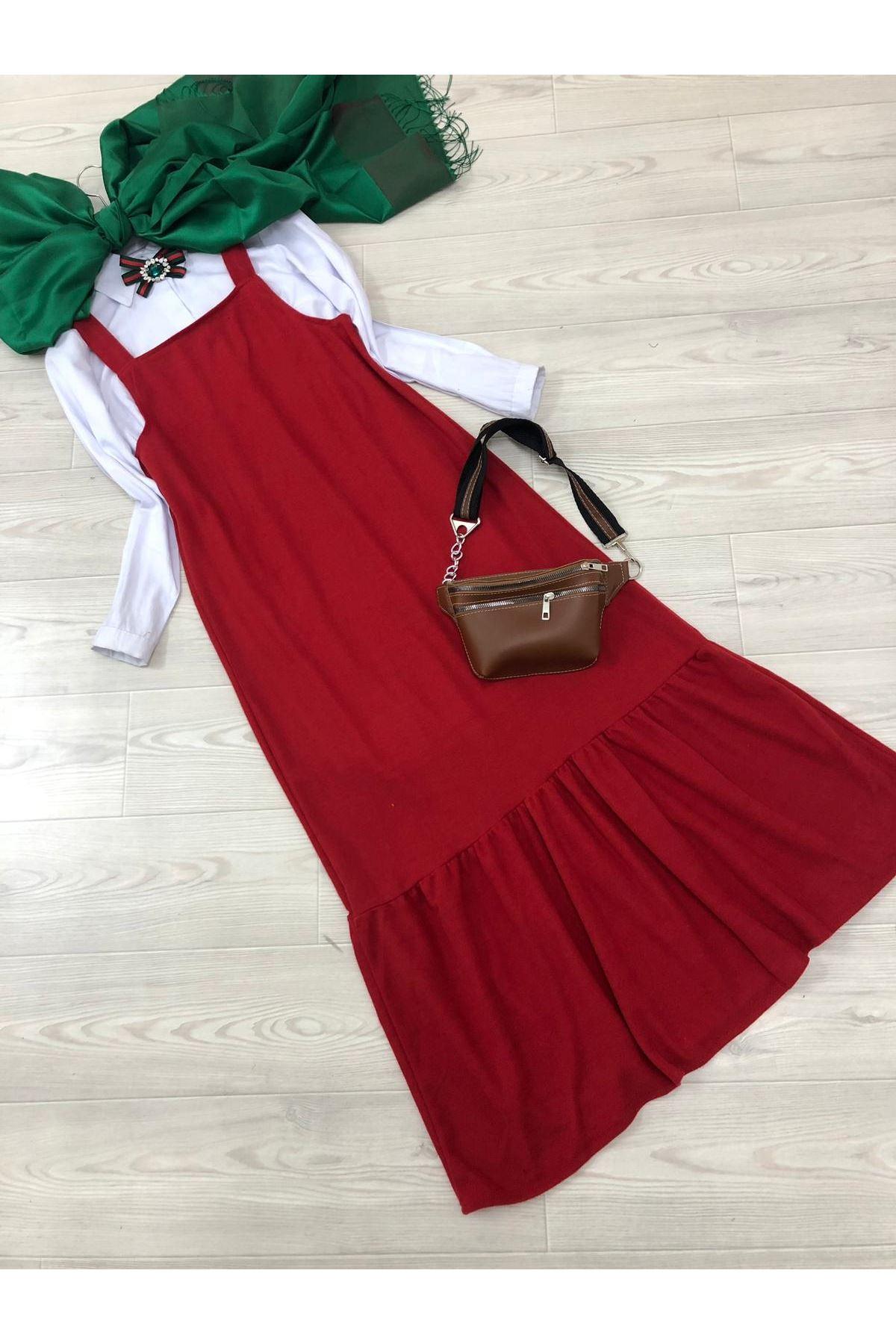 Selanik Askılı Elbise - Kırmızı
