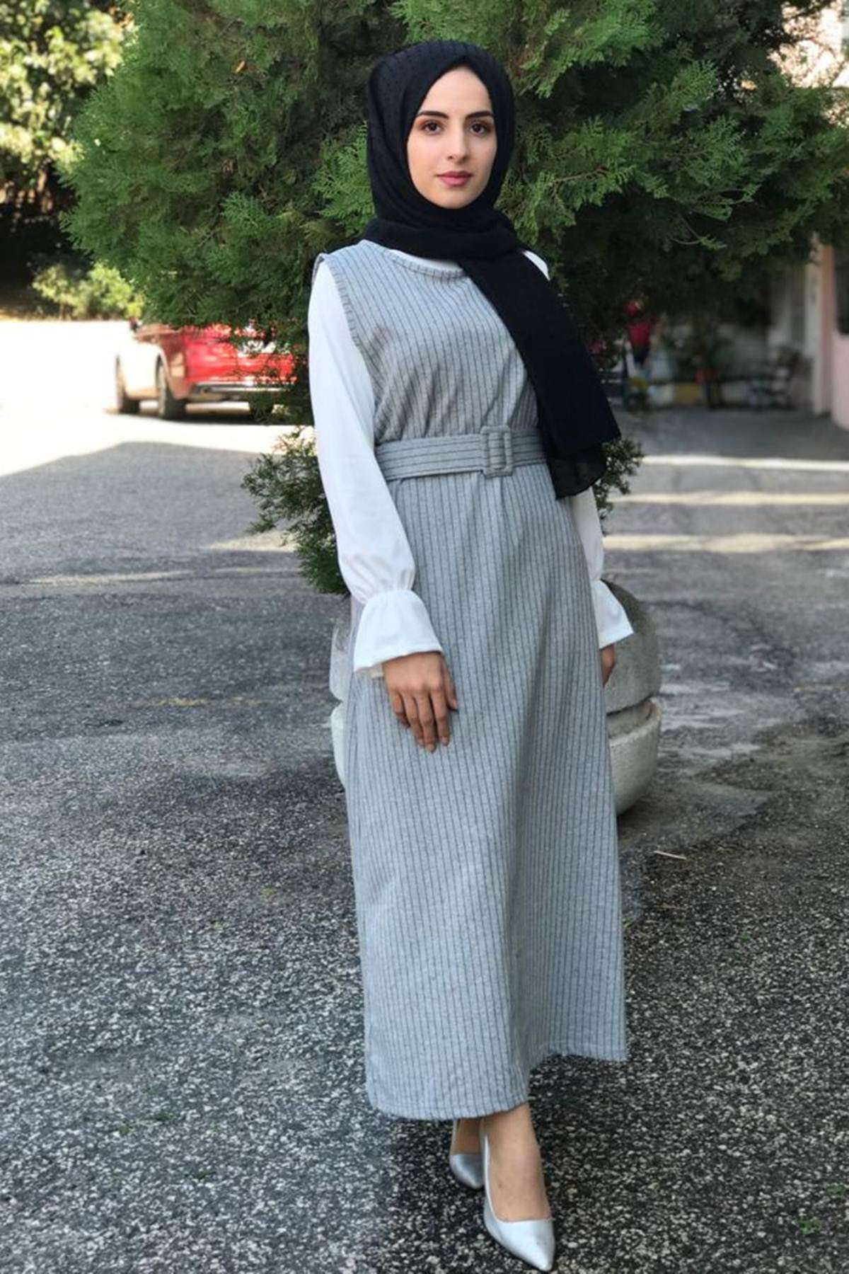 Çizgili Jile Tesettür Elbise - GRİ