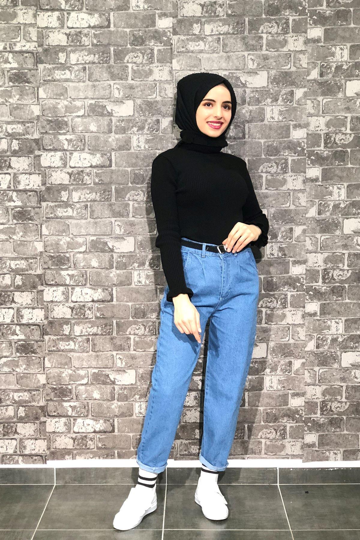 Mom Jeans Kot Pantolon - AÇIK MAVİ