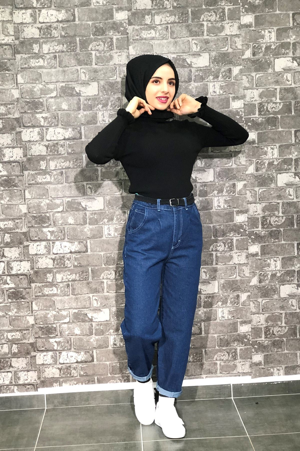 Mom Jeans Kot Pantolon - LACİVERT