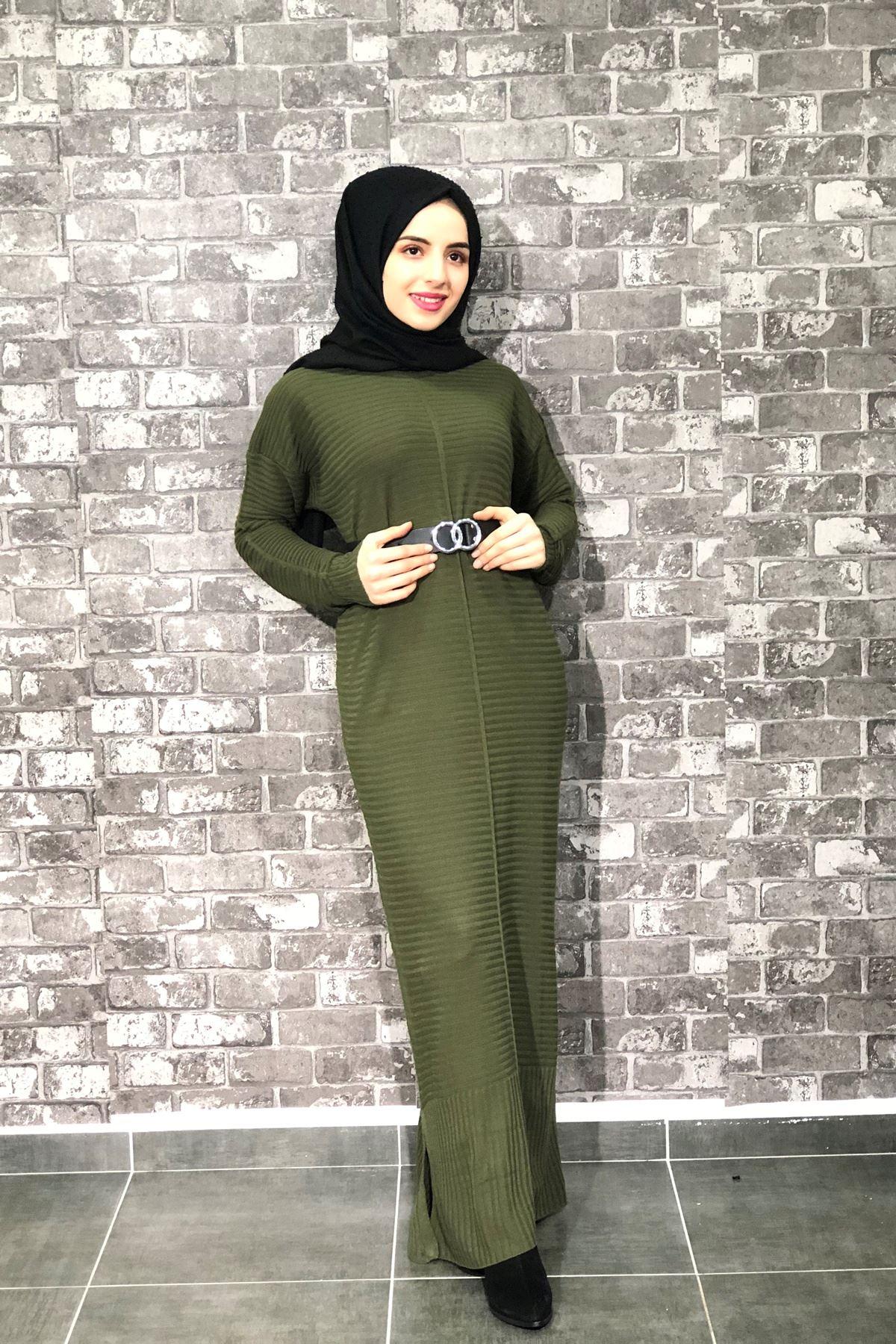Ezhel Triko Tesettür Elbise - HAKİ