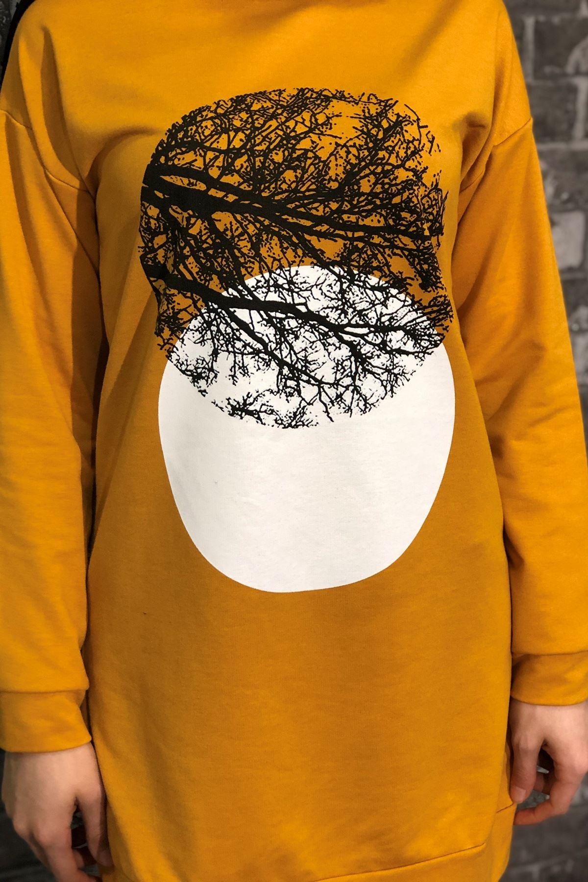 Ağaç Baskılı Tesettür Sweatshirt - HARDAL