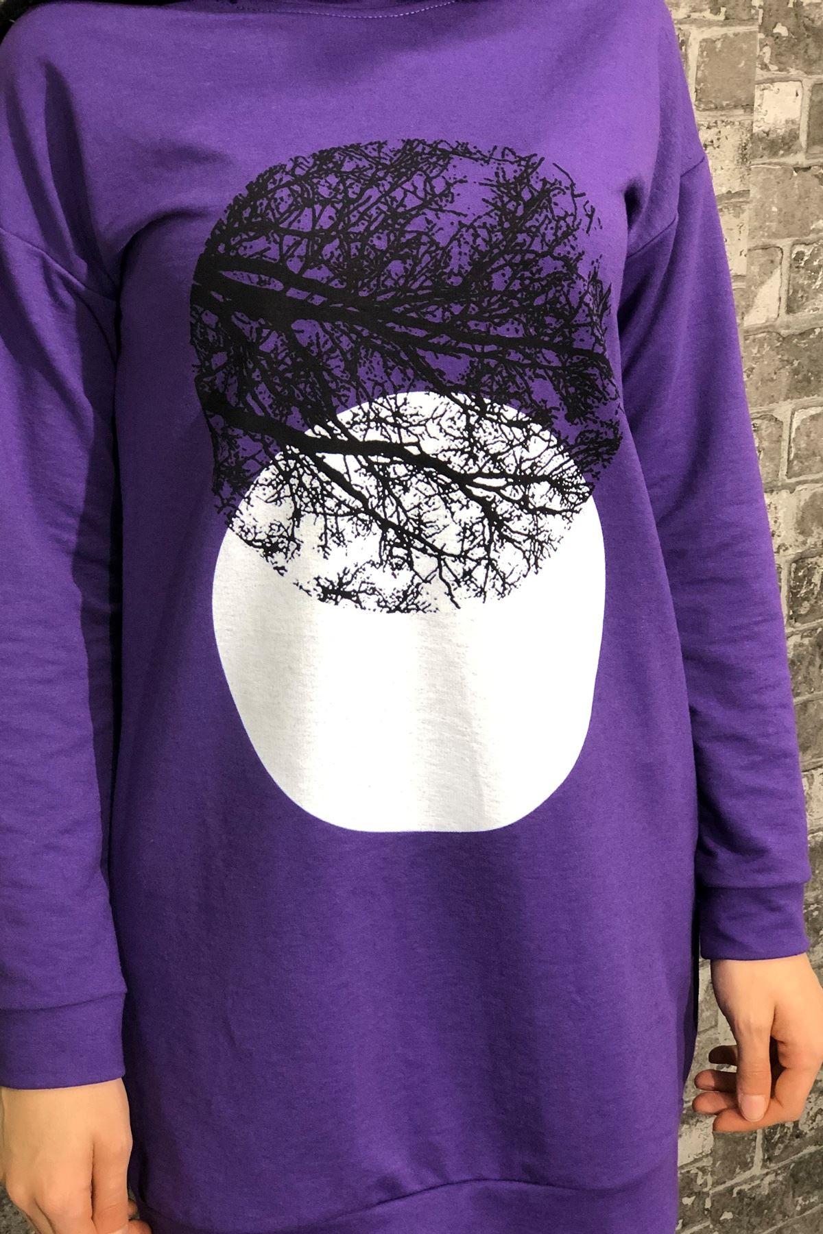Ağaç Baskılı Tesettür Sweatshirt - MOR