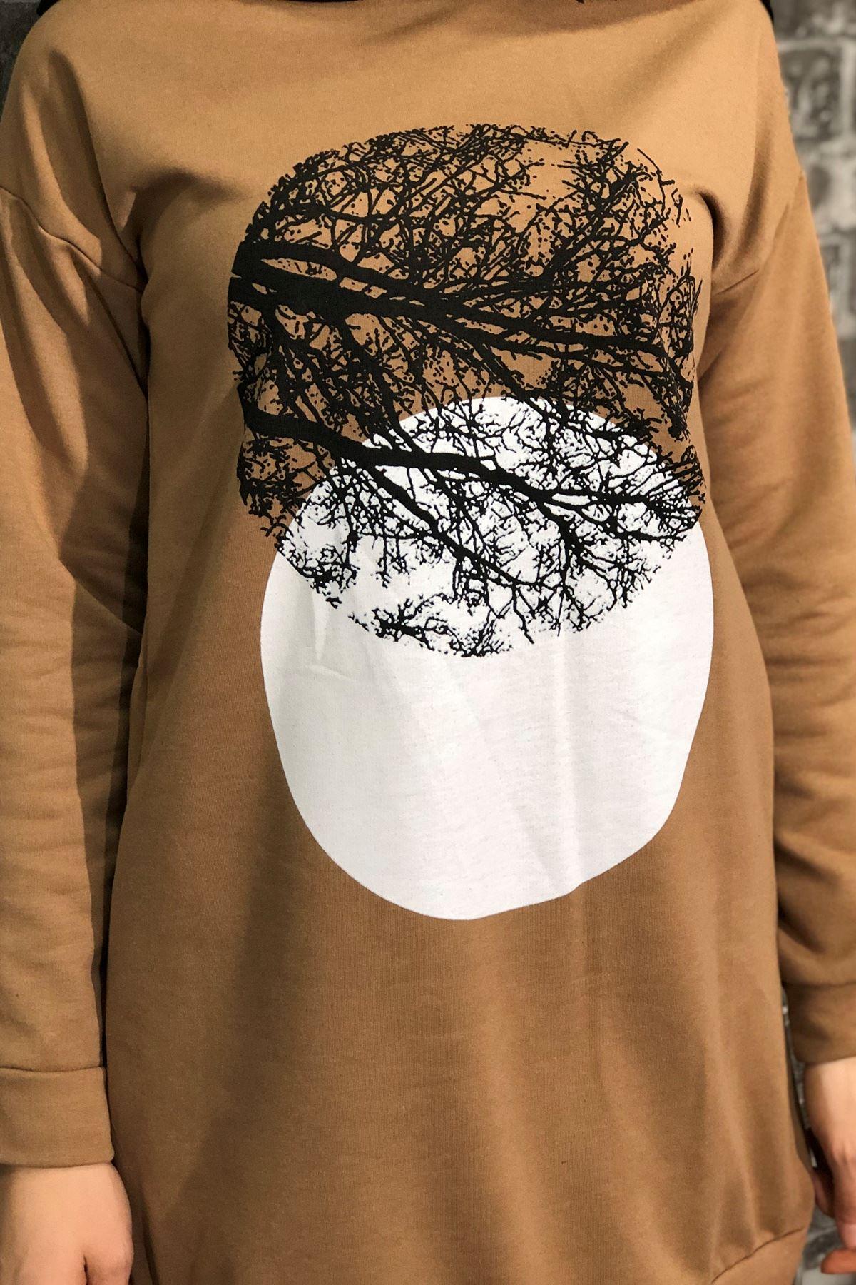 Ağaç Baskılı Tesettür Sweatshirt - VİZON