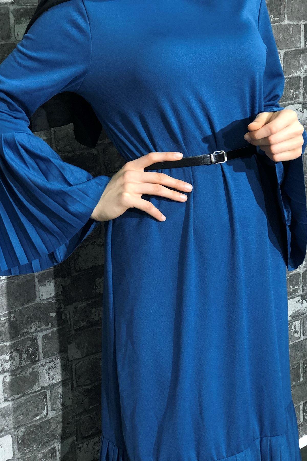 Kemerli Pliseli Tesettür Elbise - İNDİGO