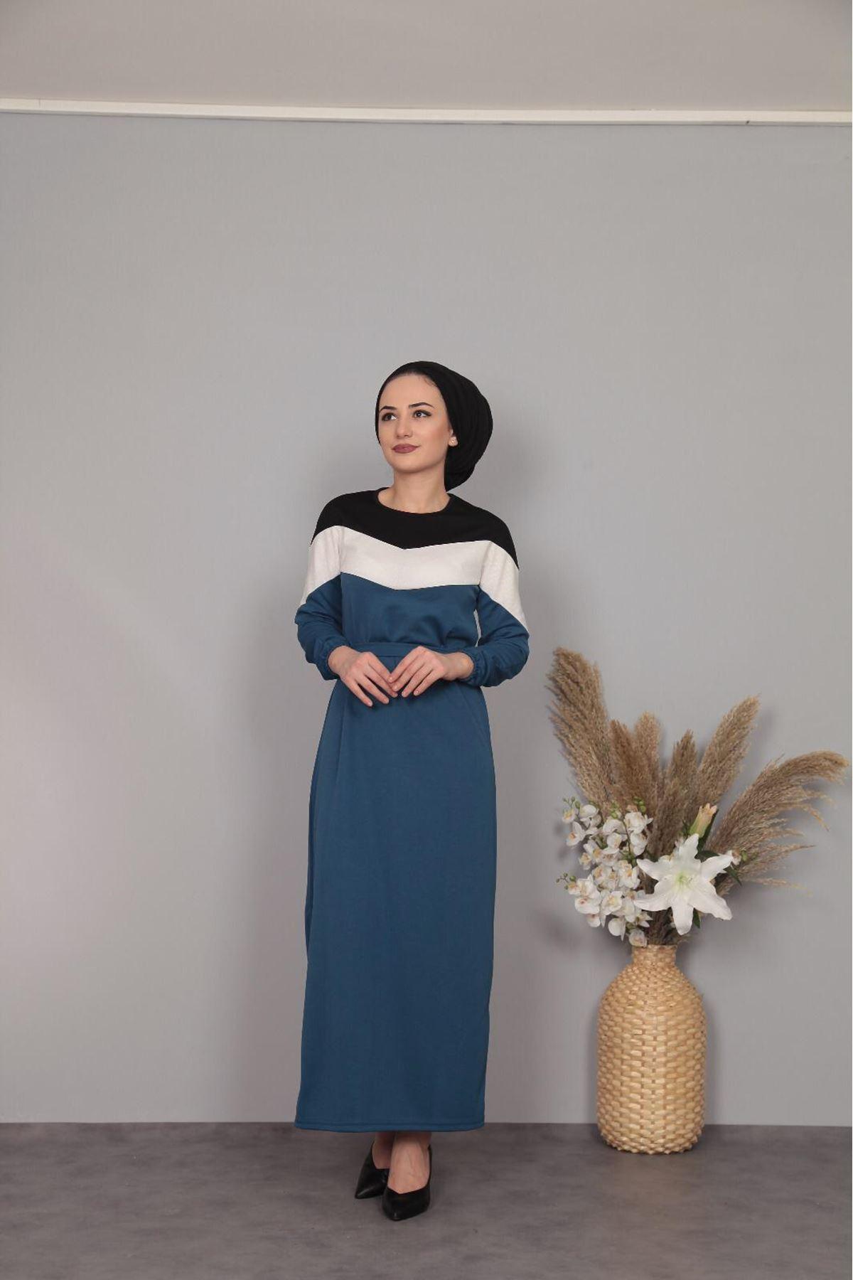 Şerit Detaylı Elbise  - İNDİGO