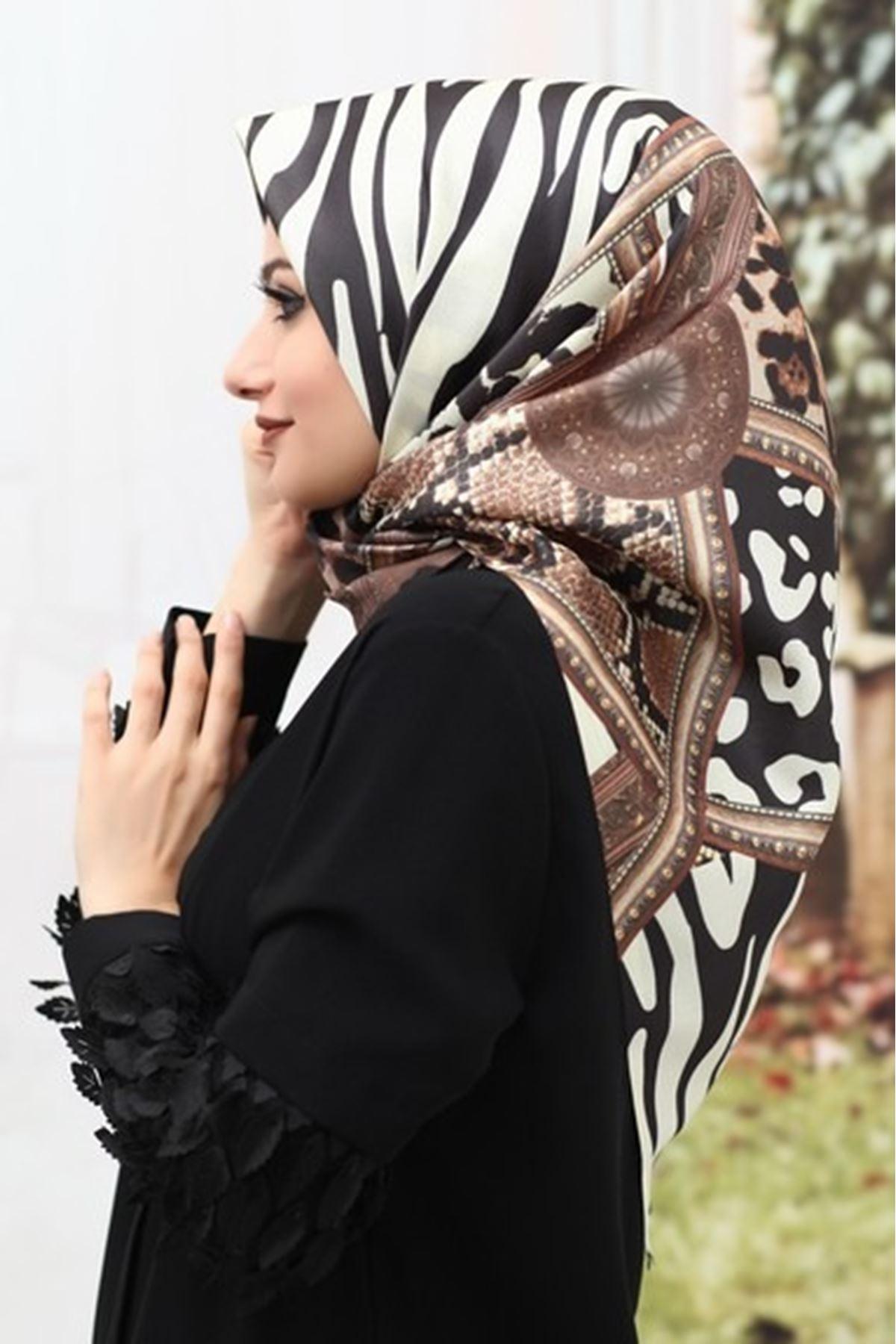 Zebra Desen Tafta Eşarp-Kahverengi