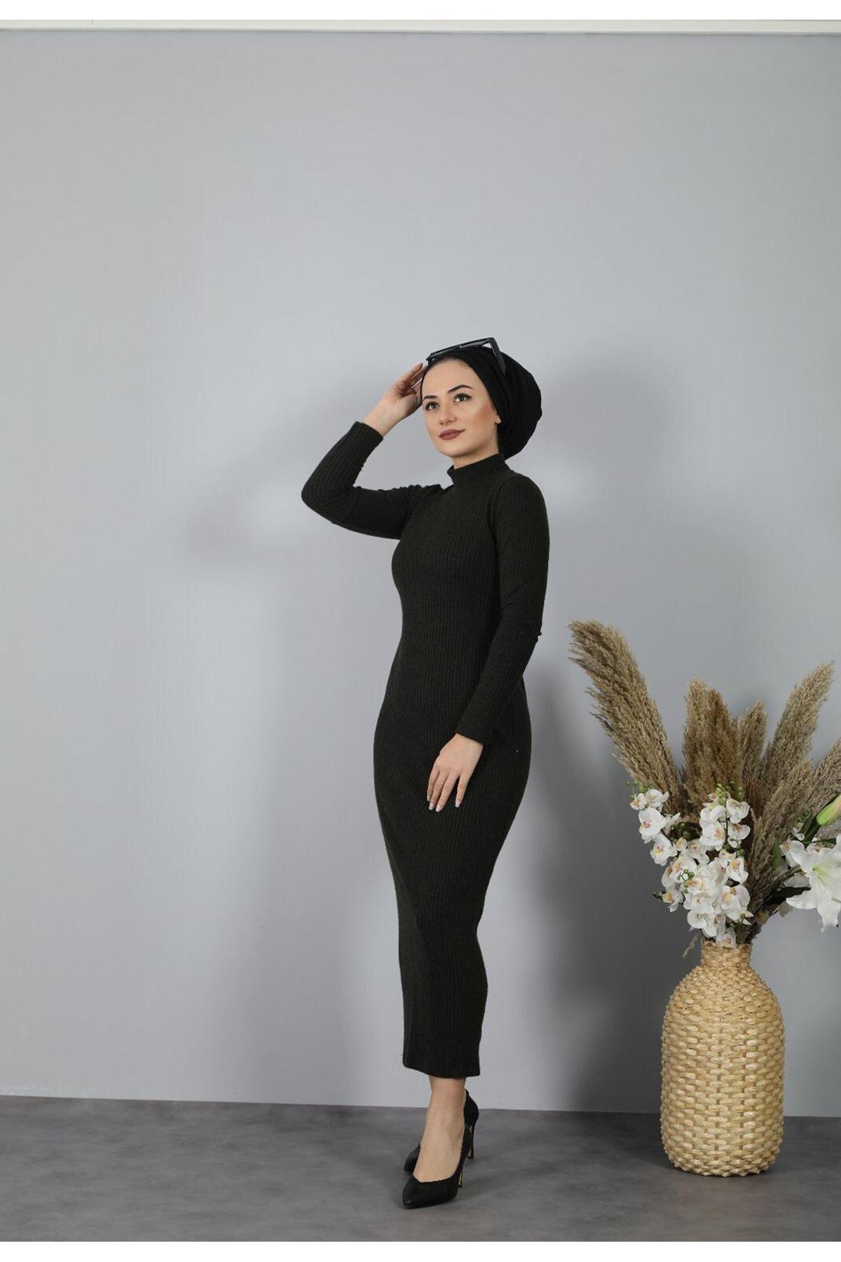 Fitilli Kalem Elbise - YEŞİL