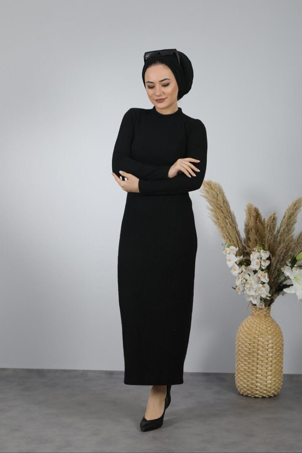 Fitilli Kalem Elbise - SİYAH