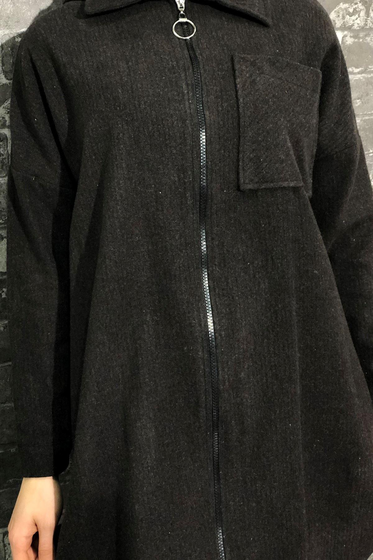 Fermuarlı Ceket - Kahverengi
