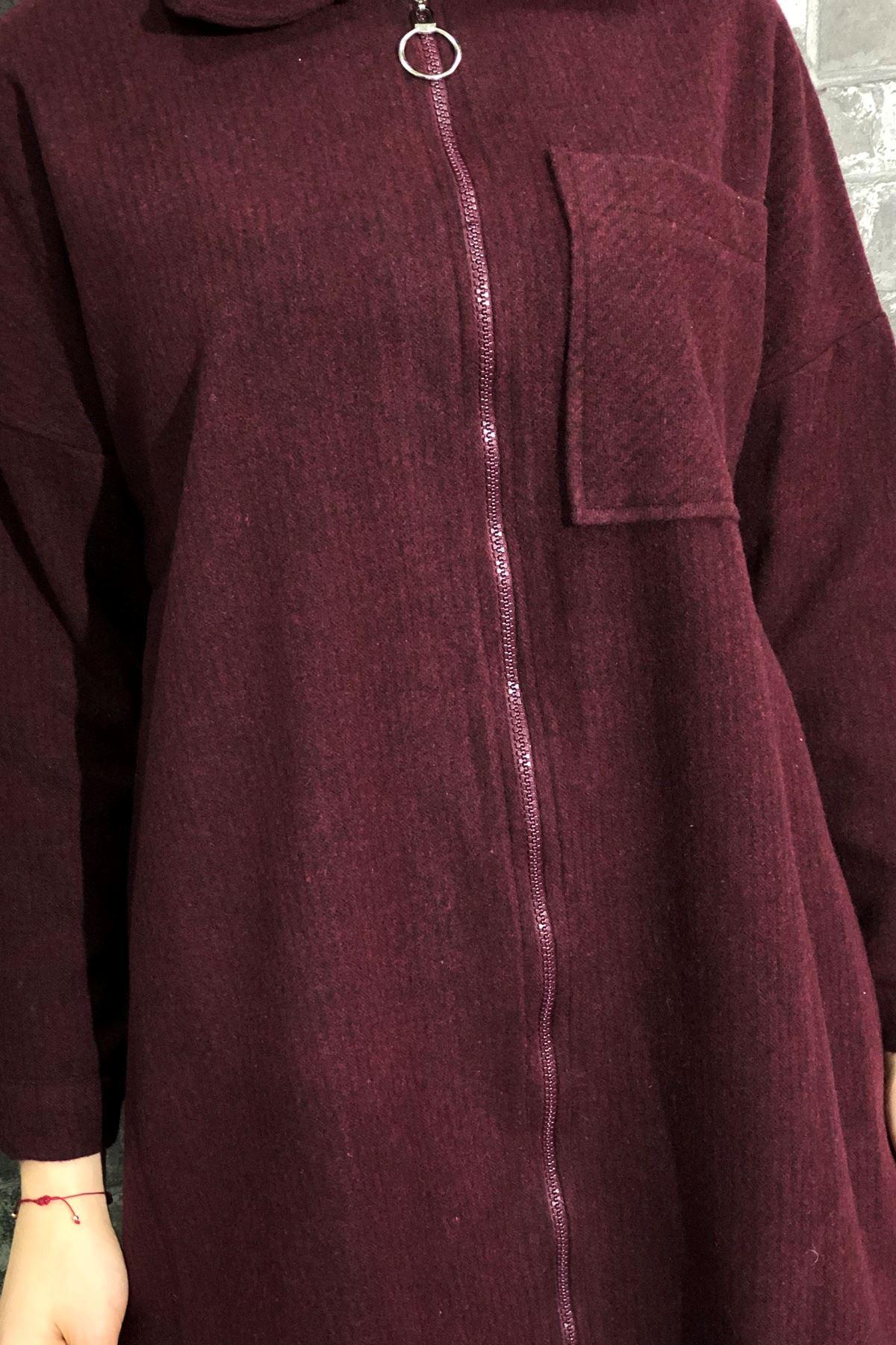 Fermuarlı Ceket - Bordo