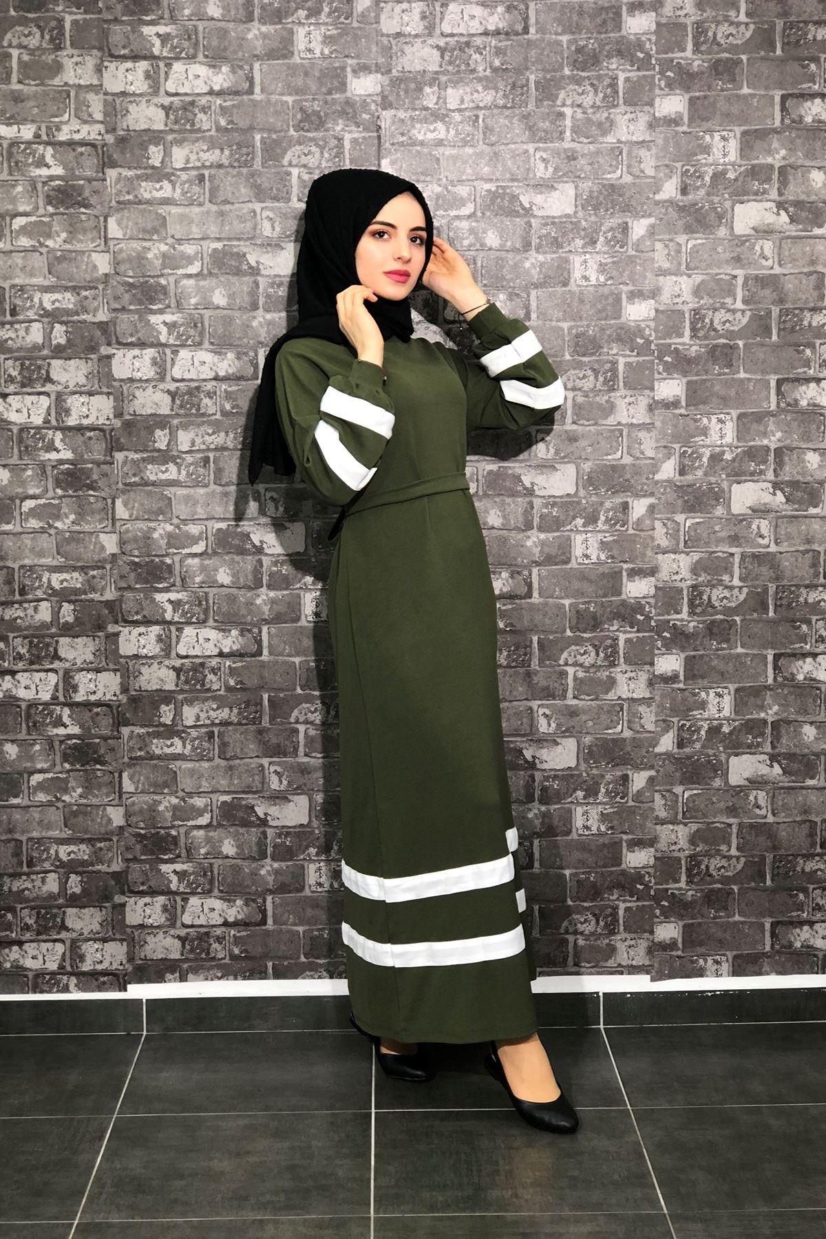 Şeritli Tesettür Elbise - Haki