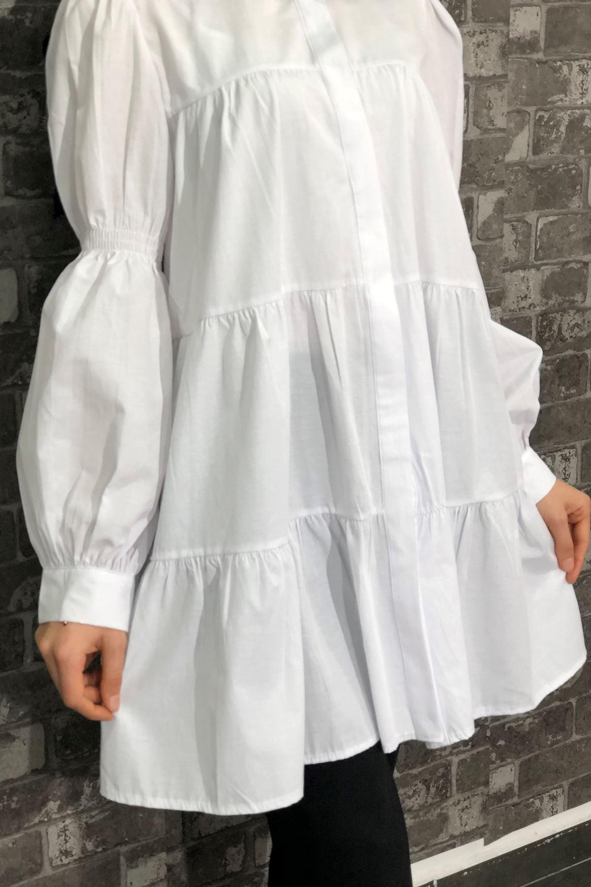 Lastik Büzgülü Katlı Tunik Gömlek - Beyaz
