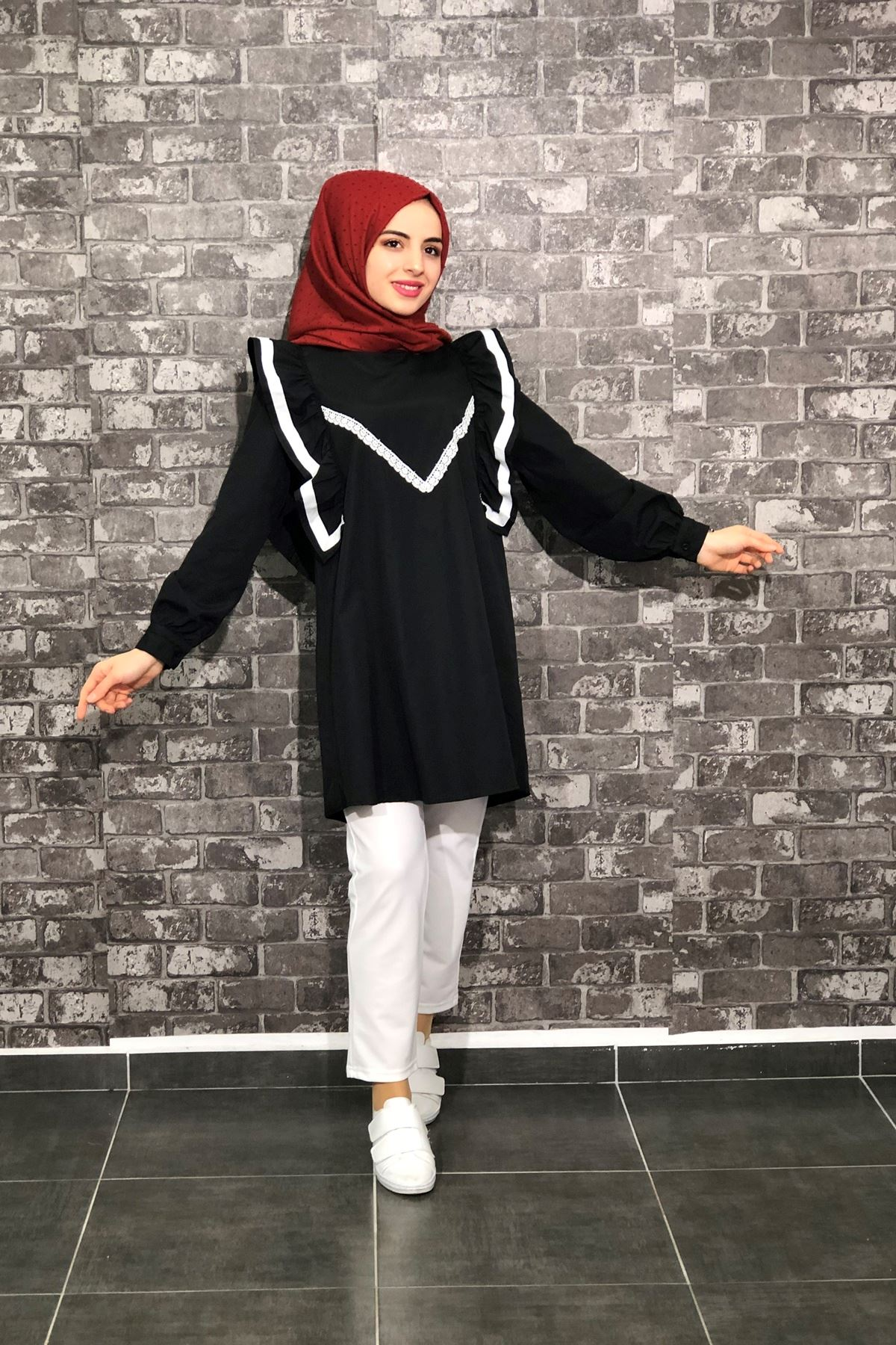 Fırfır Detaylı Tunik Gömlek - Siyah