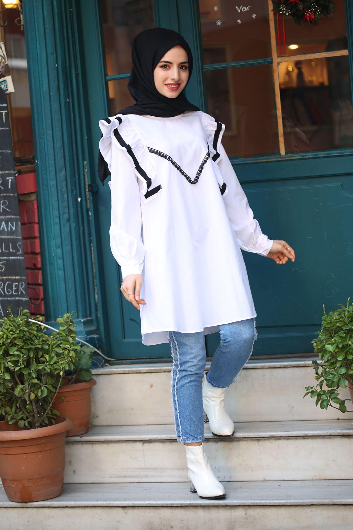 Fırfır Detaylı Tunik Gömlek - Beyaz