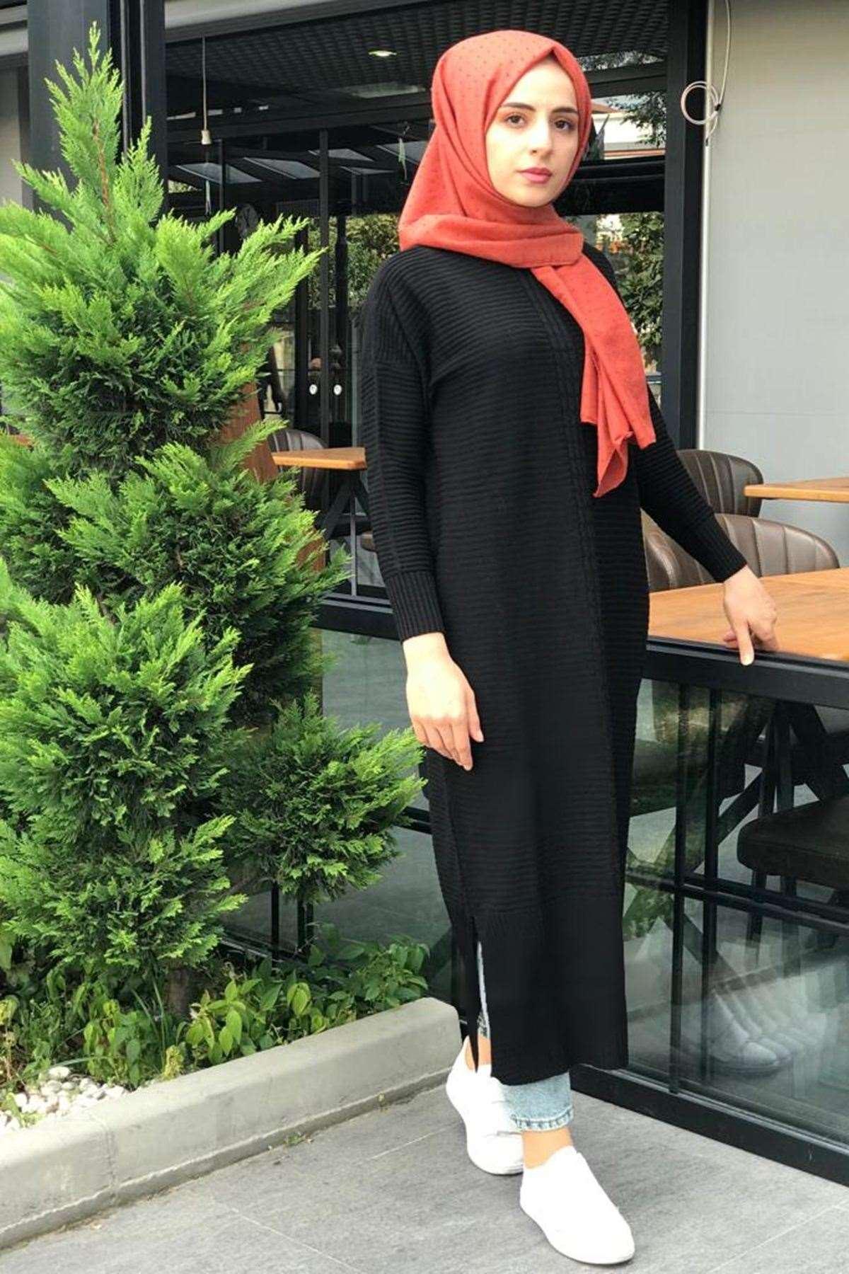 Örgü Şerit Triko Elbise - Siyah