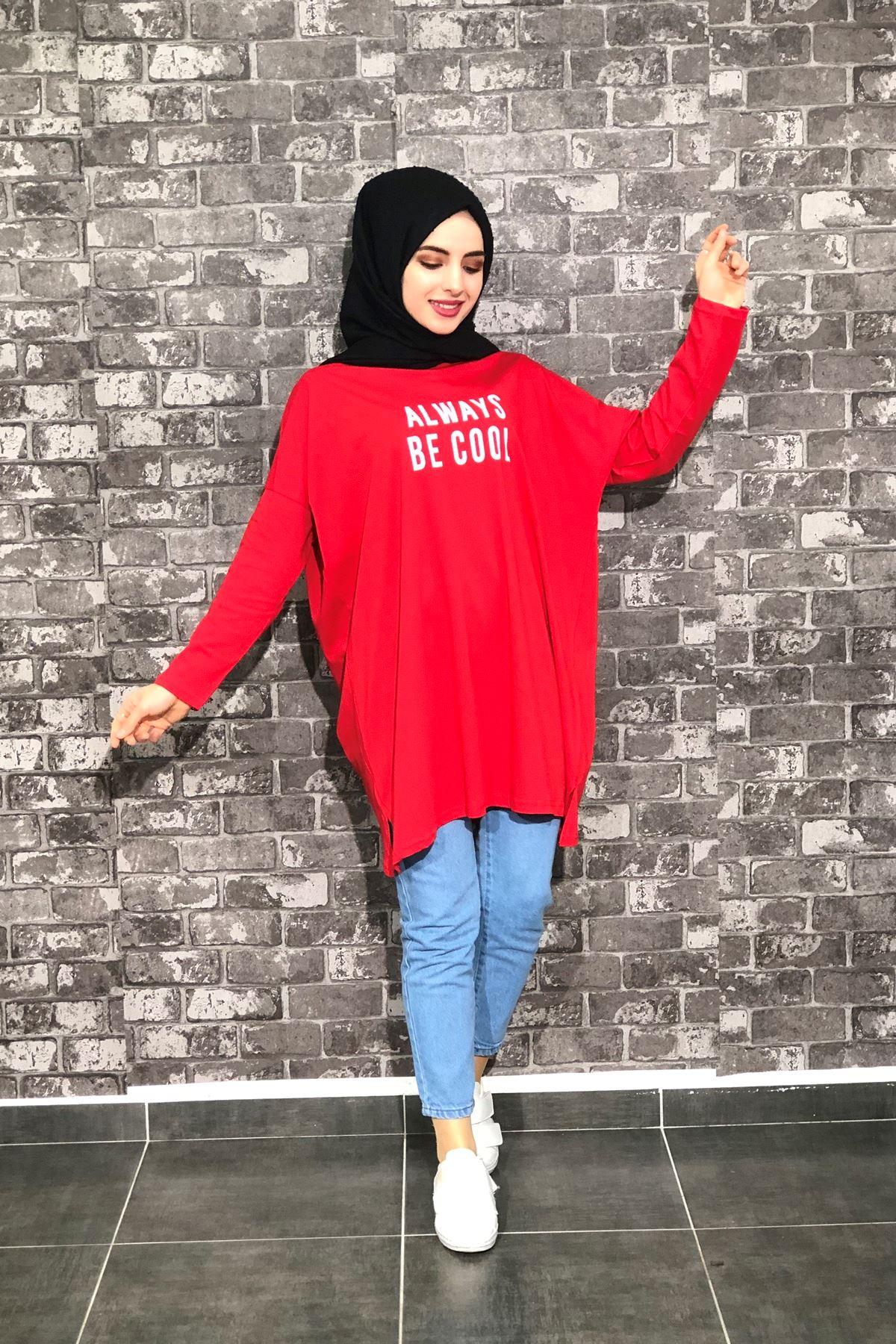 Yarasa Kol Tunik - Kırmızı