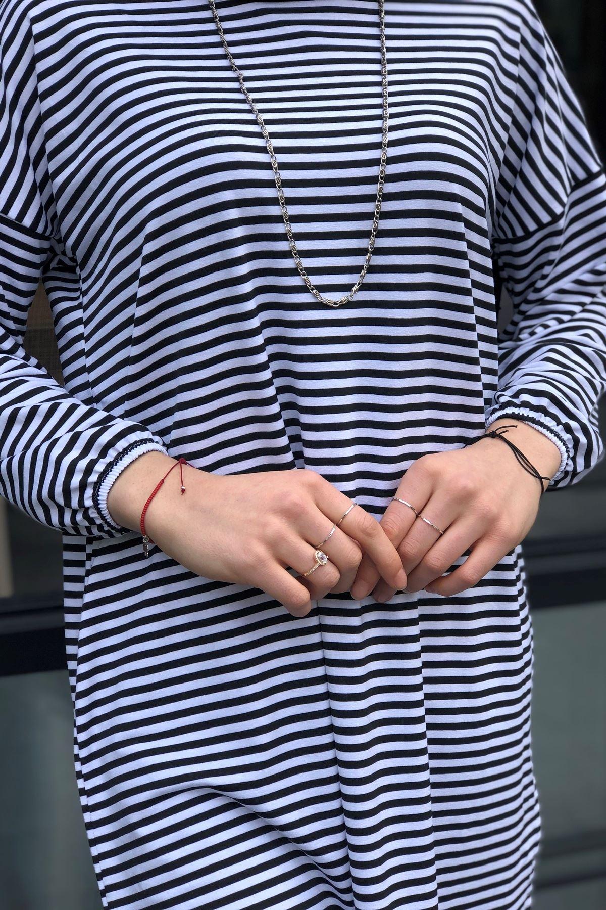 Çizgili Penye Tunik- Siyah Beyaz