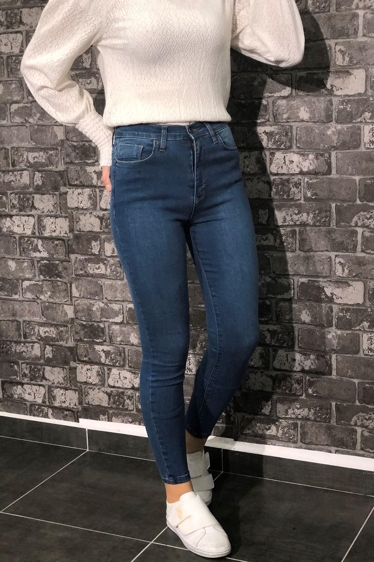 Slim Fit Kot Pantolon - Mavi