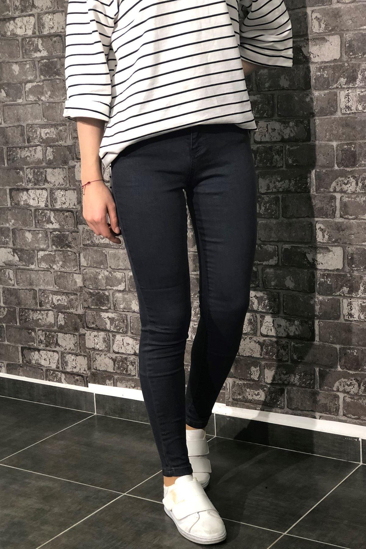 Likralı Kot Pantolon - Füme