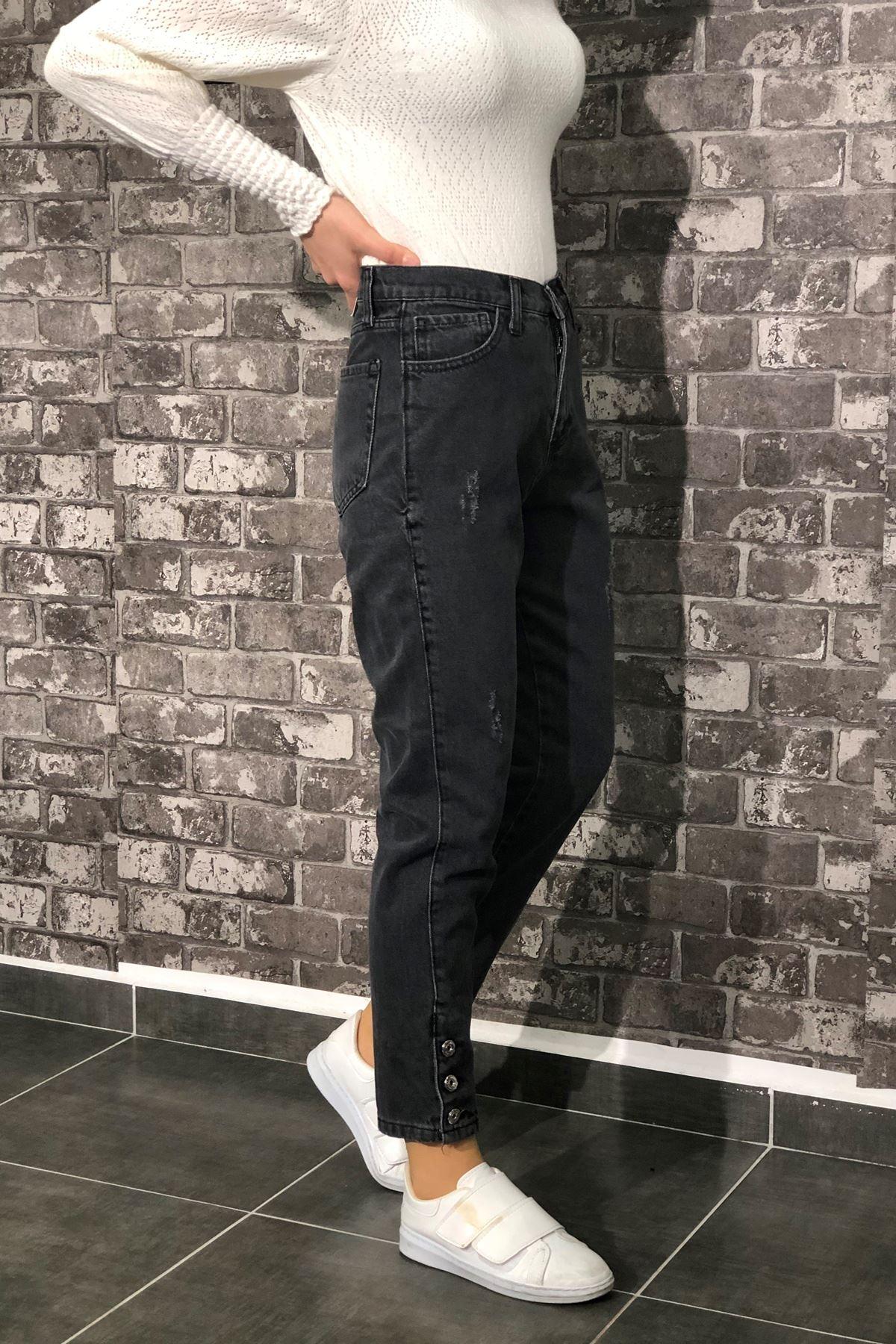 Paça Düğmeli Kot Pantolon - Füme