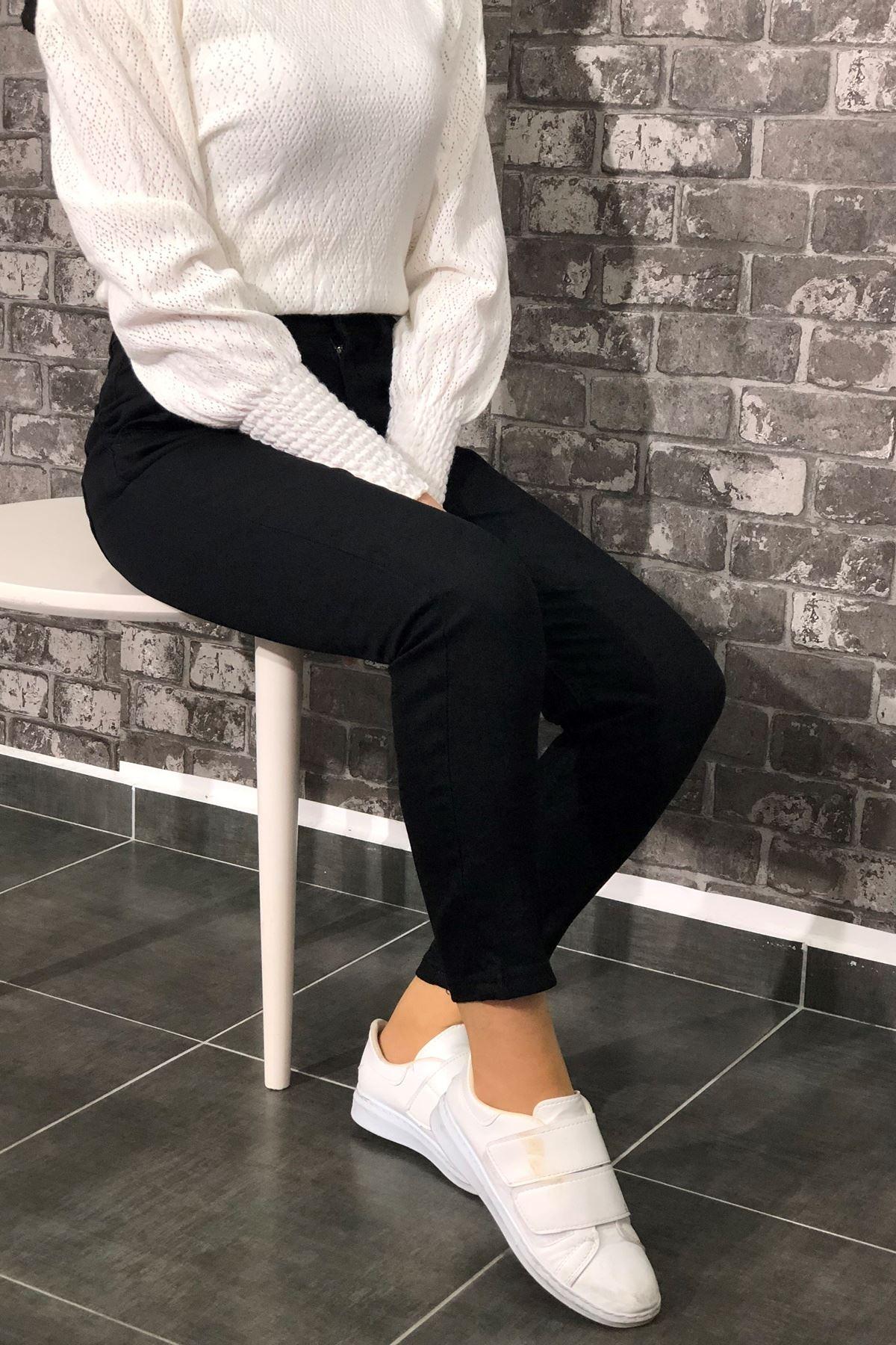 Boyfriend Yan Cepli Kot Pantolon - Siyah