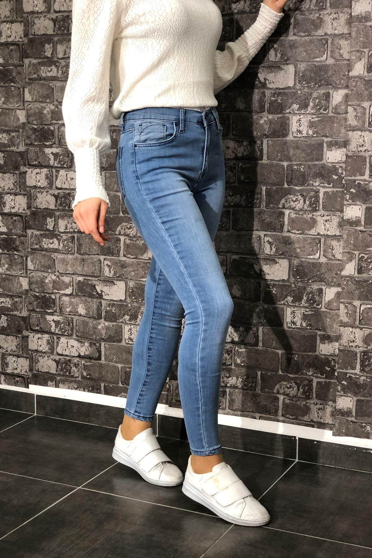 Likralı Slim Kot Pantolon - Açık Mavi
